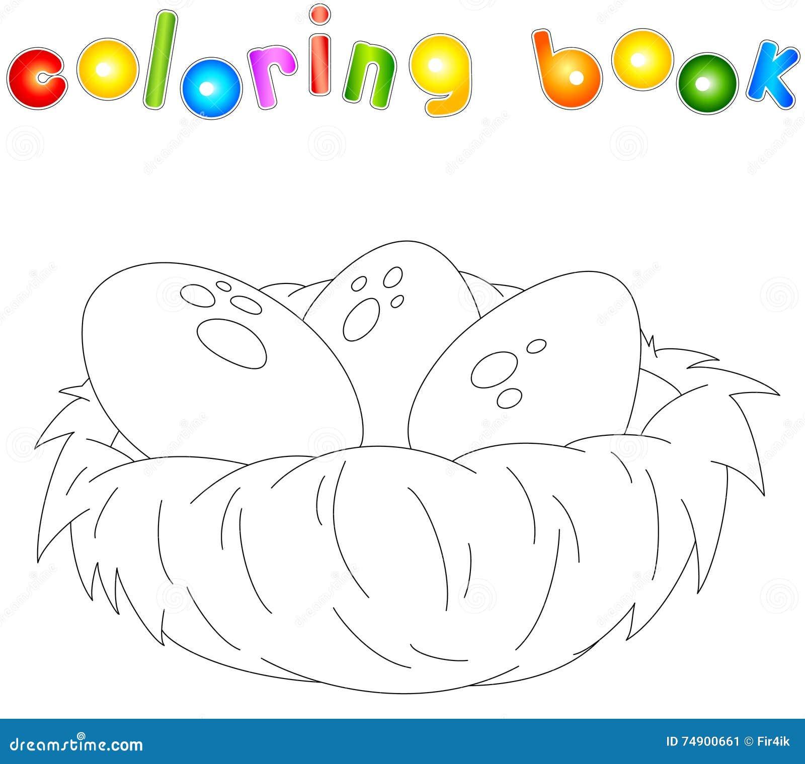 Livro Para Colorir Do Ninho Dos Desenhos Animados Ilustracao Do