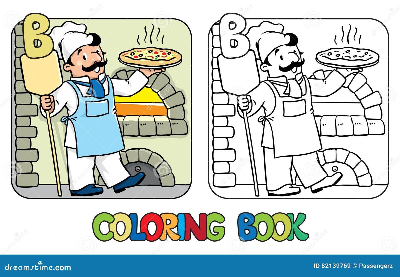 Livro Para Colorir Do Padeiro Profissao Abc Alfabeto B Ilustracao