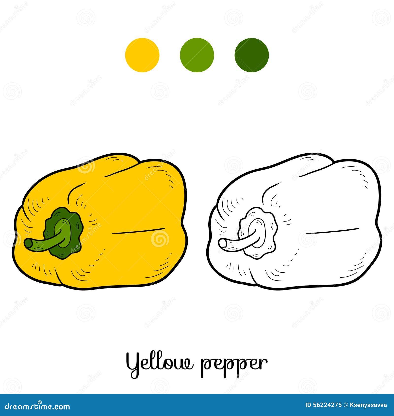 Livro Para Colorir Frutas E Legumes Pimenta Ilustracao Do Vetor