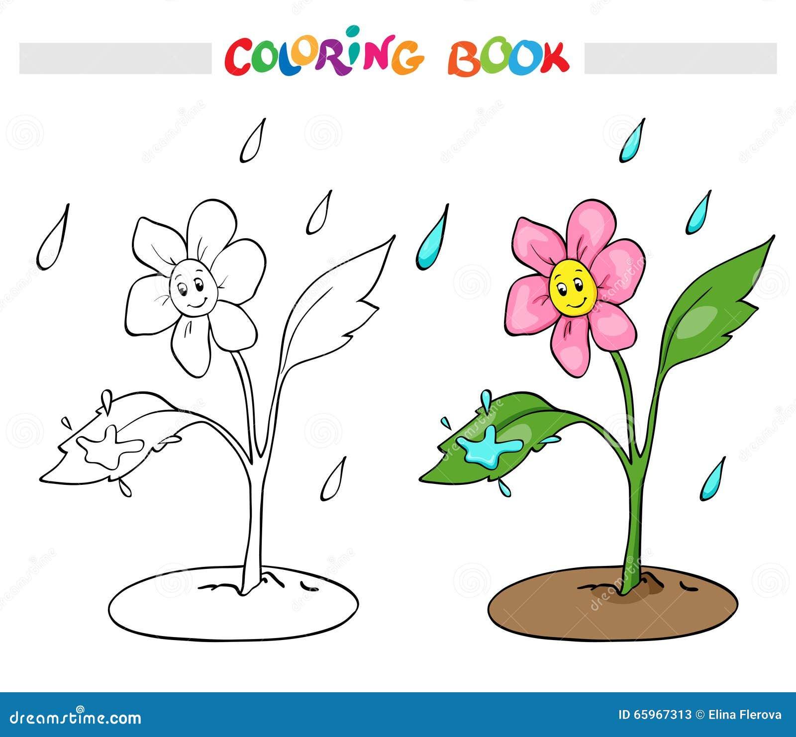 Livro Para Colorir Ou Pagina A Margarida Da Flor Exulta A Chuva