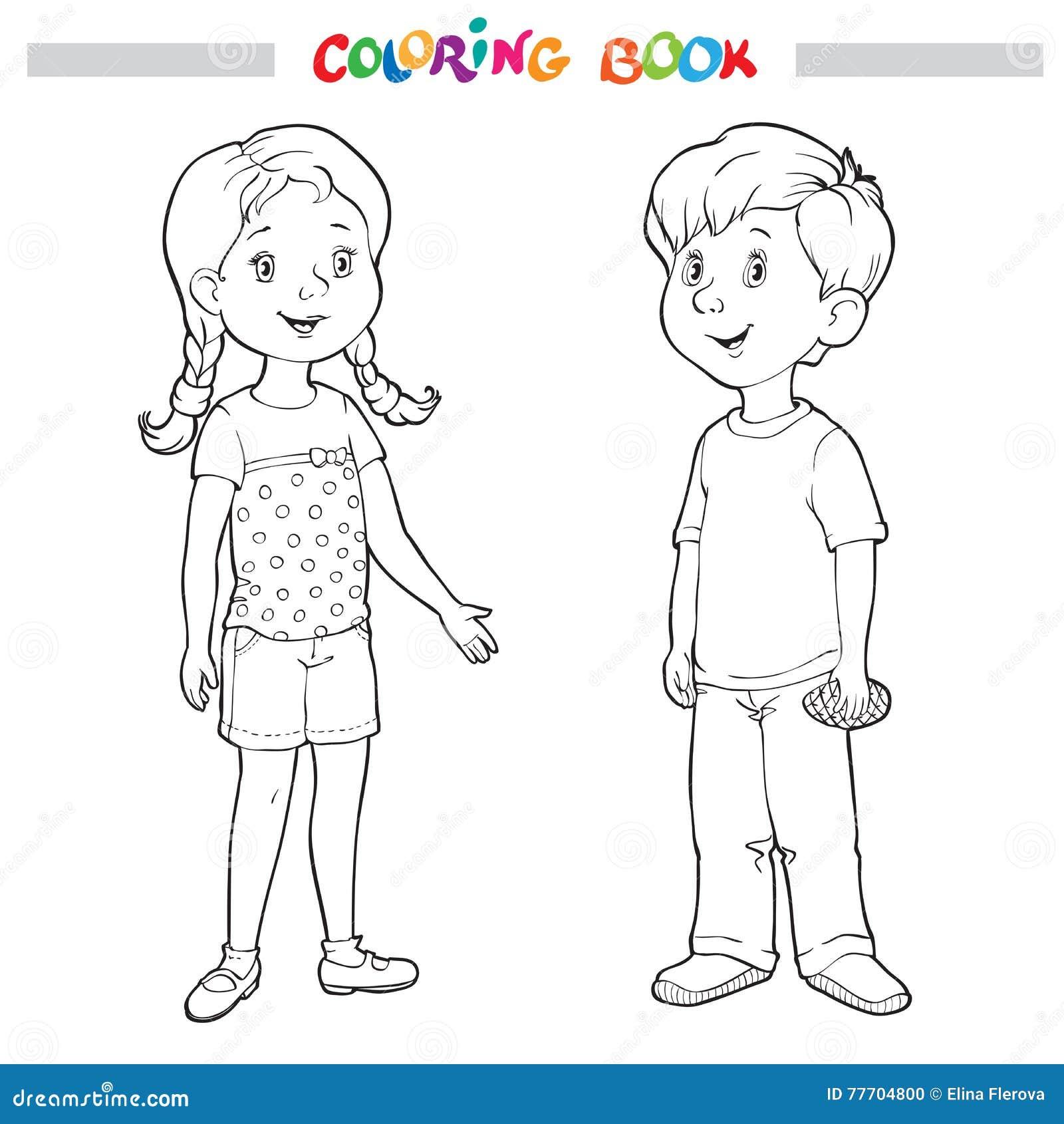 livro para colorir ou página menino e menina ilustração do vetor