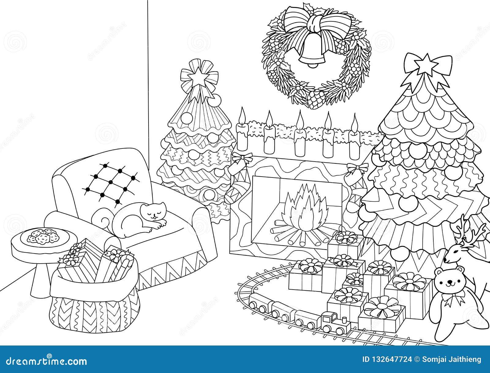 Livro Para Colorir Página Colorindo Da árvore De Natal