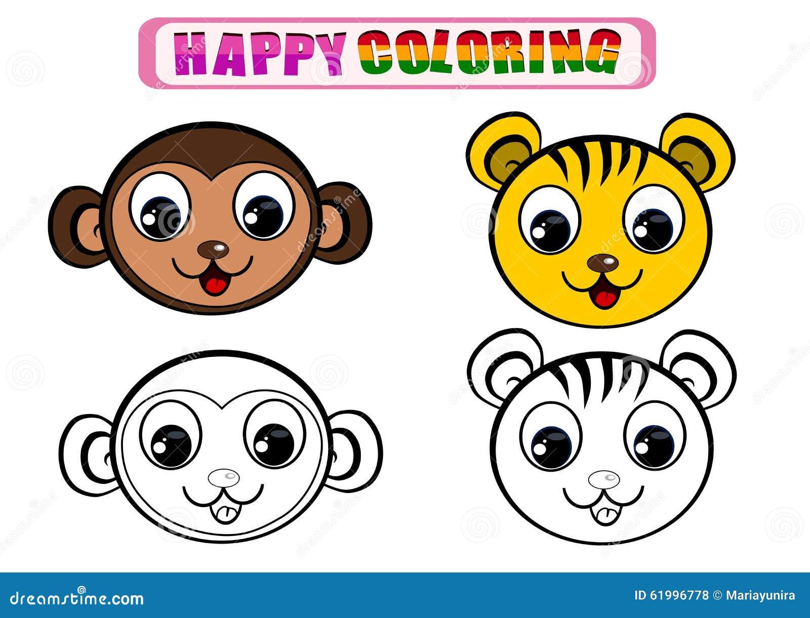 Macaco Livro Para Colorir Stock Photos