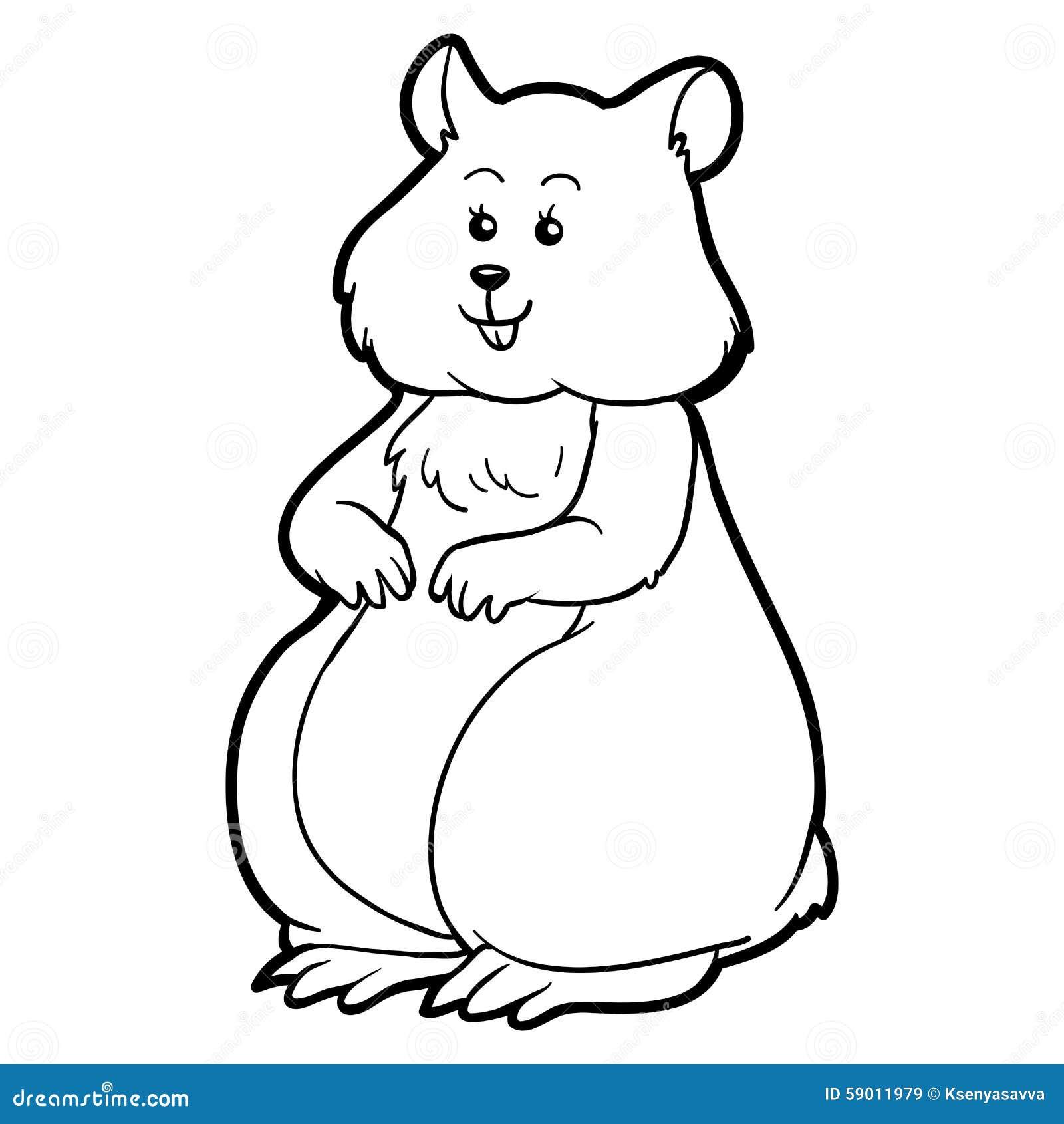 Livro Para Colorir Para Criancas Hamster Animal Ilustracao Do