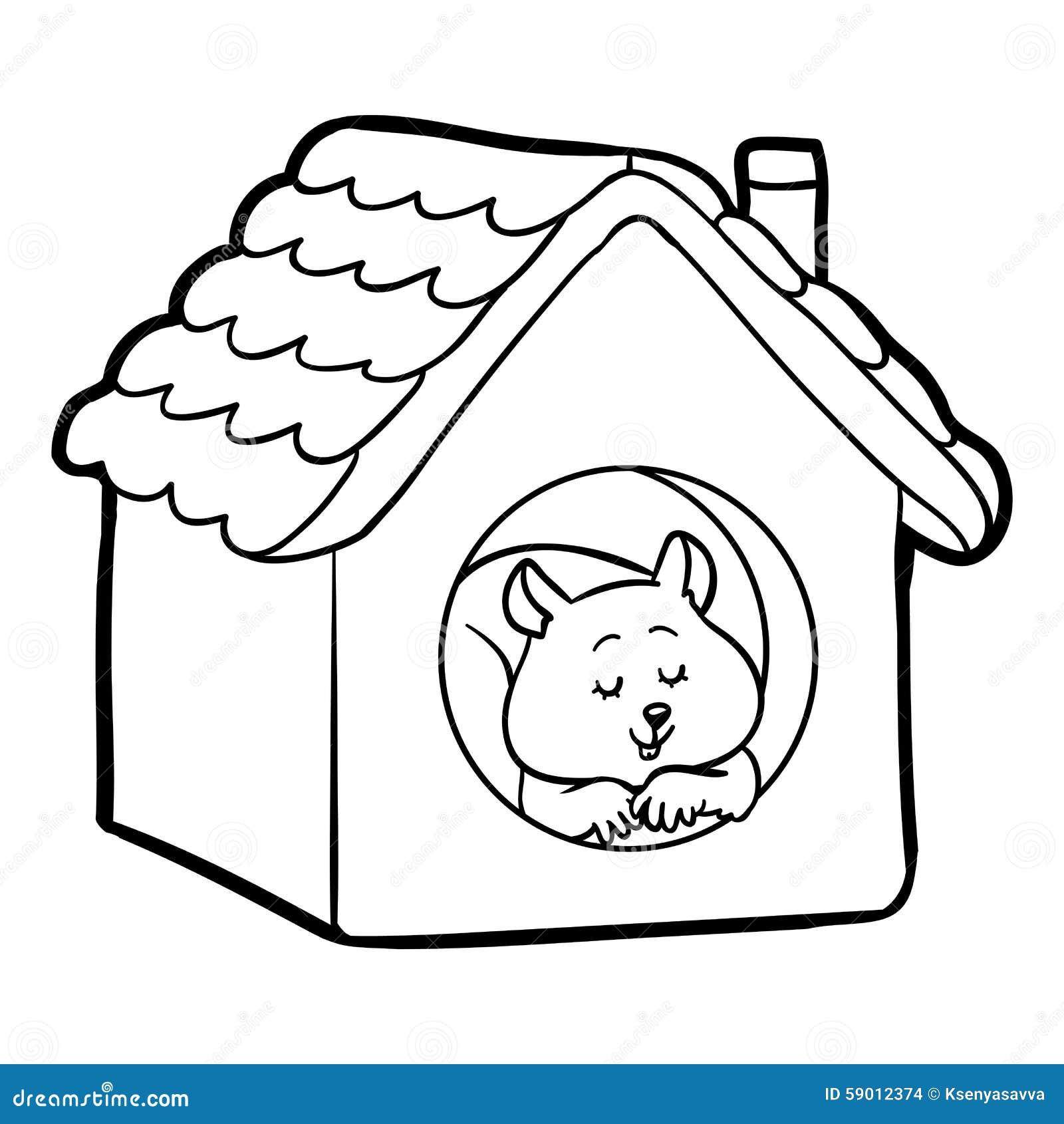 Livro Para Colorir Para Criancas Hamster E Casa Ilustracao Do