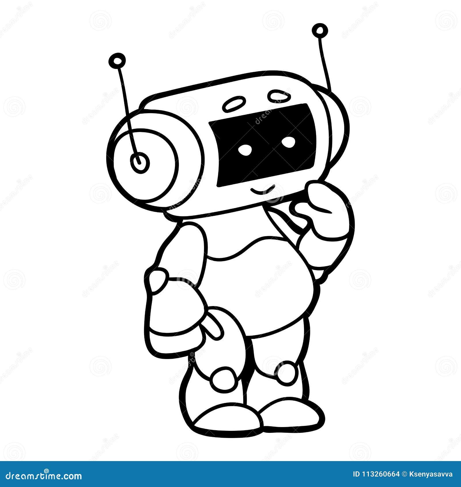 Livro Para Colorir Robo Ilustracao Do Vetor Ilustracao De