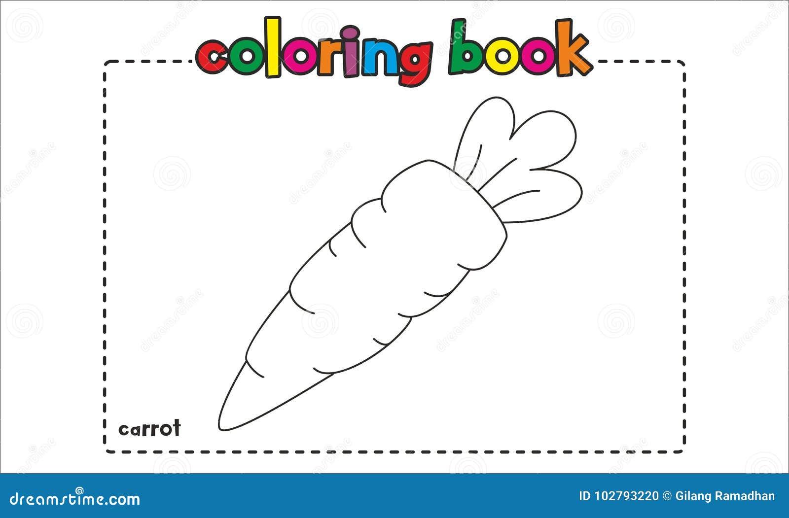 livro para colorir simples da cenoura para crianças e crianças