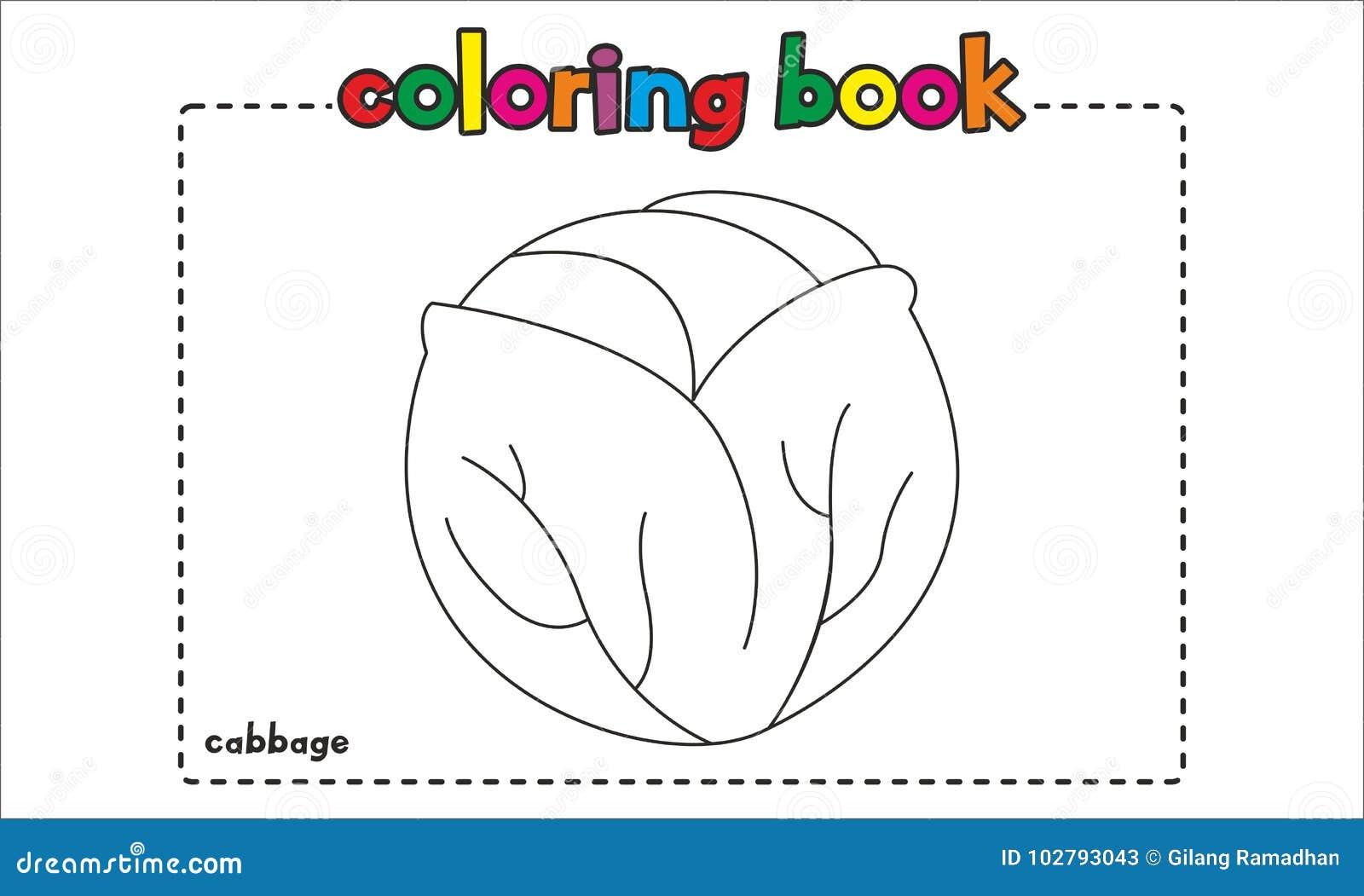 Livro Para Colorir Simples Da Couve Para Crianças E Crianças Ilustração do  Vetor - Ilustração de couve, colorir: 102793043
