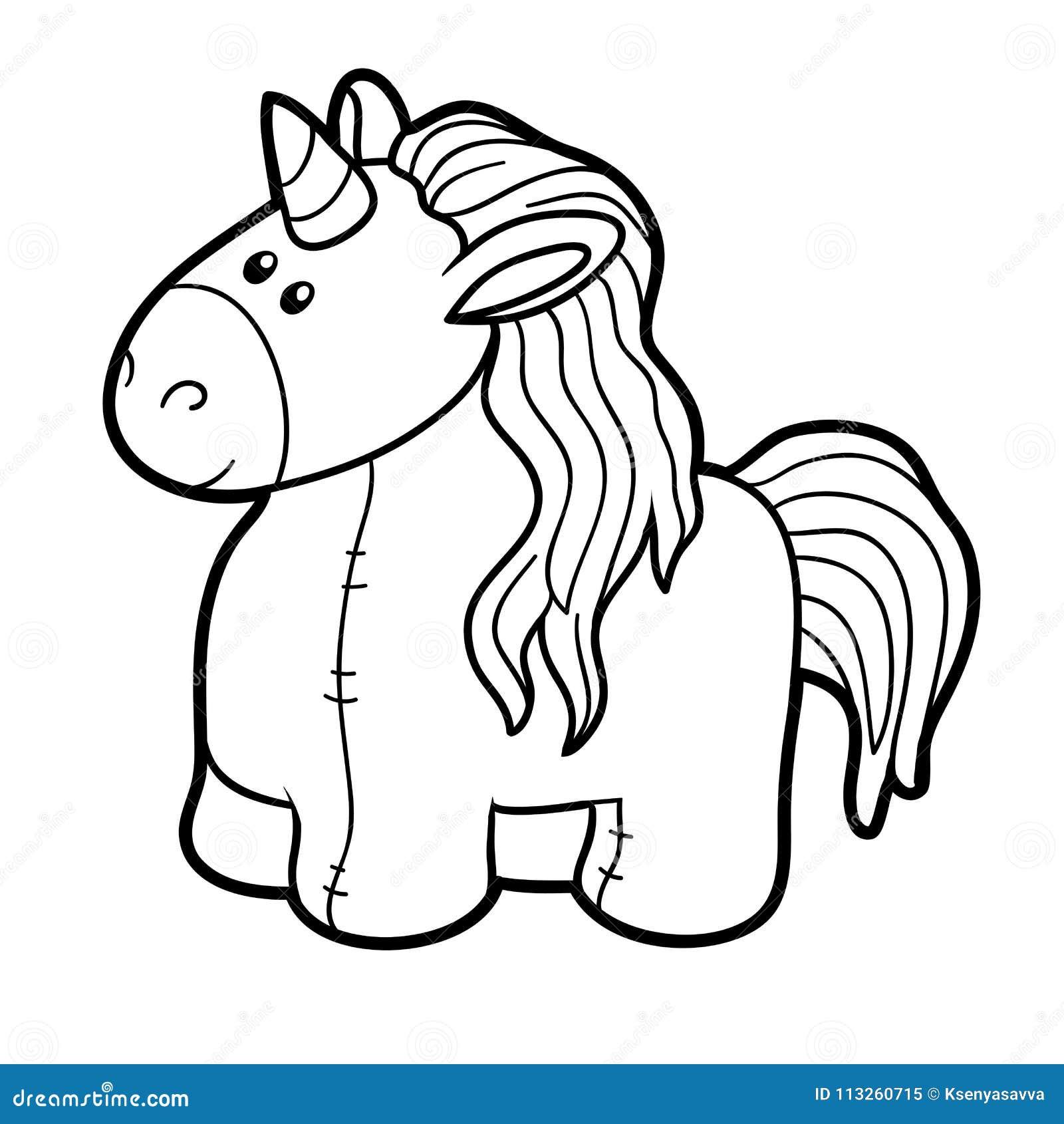 Livro Para Colorir Unicornio Enchido Do Brinquedo Ilustracao Do