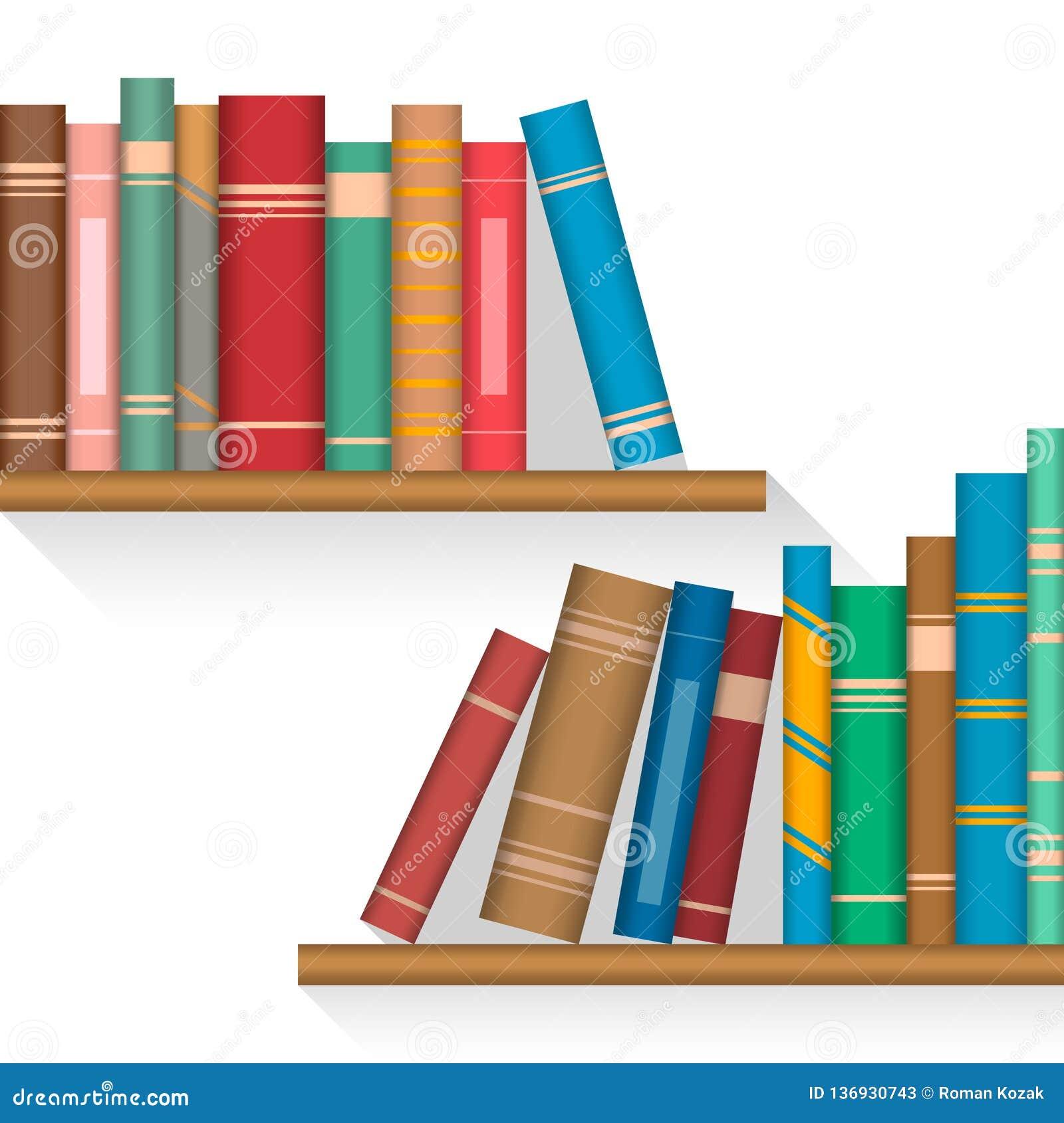Livros coloridos em prateleiras com faixas aumentadas em uma tampa da espinha
