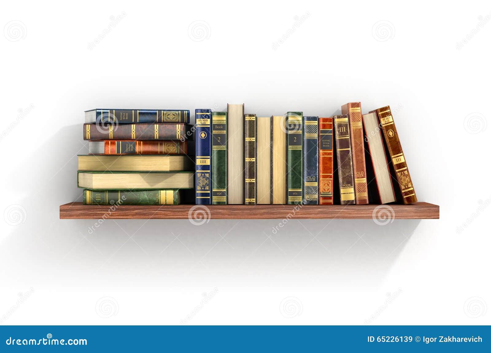 Livros coloridos na prateleira de madeira
