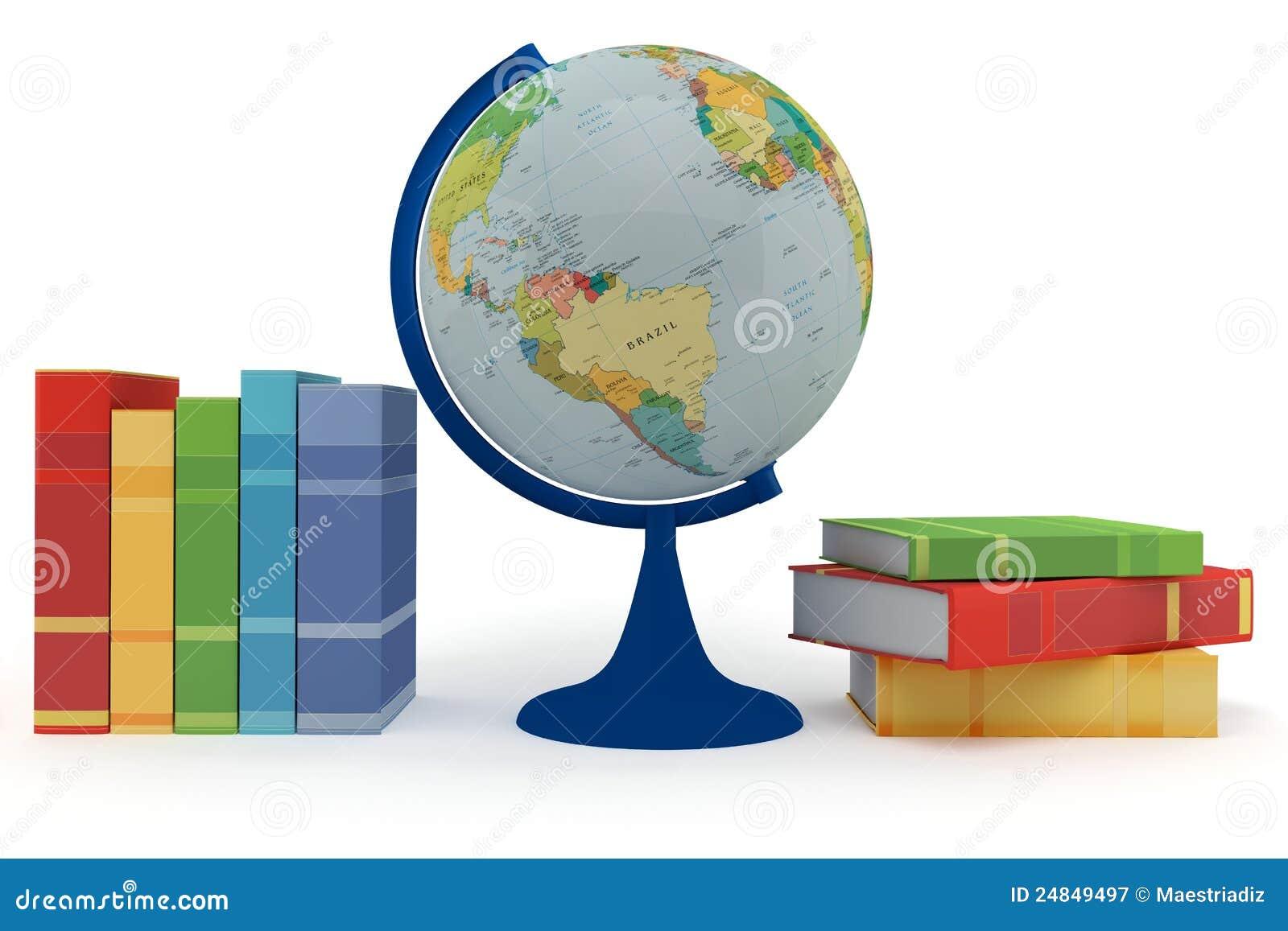 Livros coloridos para a aprendizagem e o globo fotografia de stock royalty free imagem 24849497 - Oglo o ...