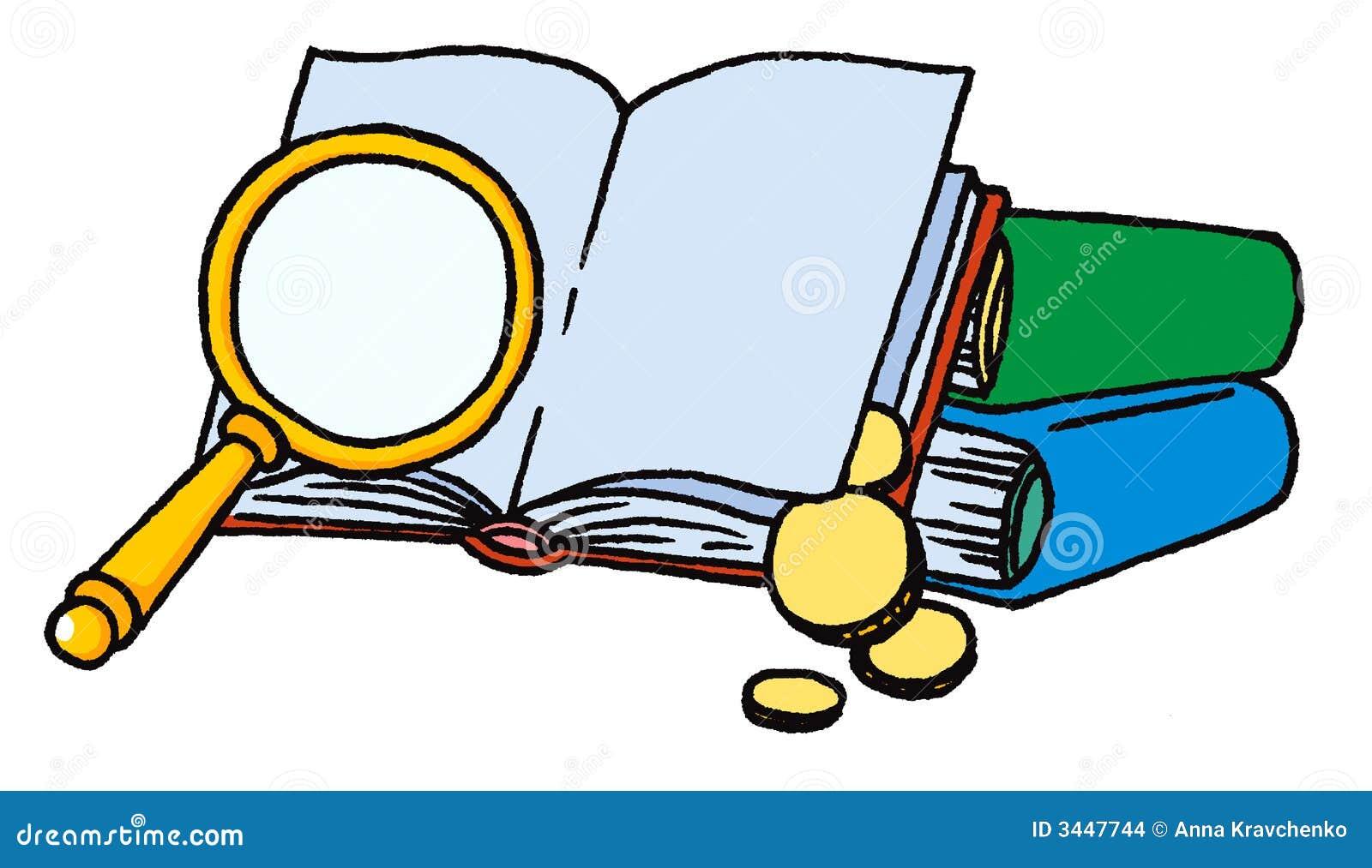 Livros com lupa