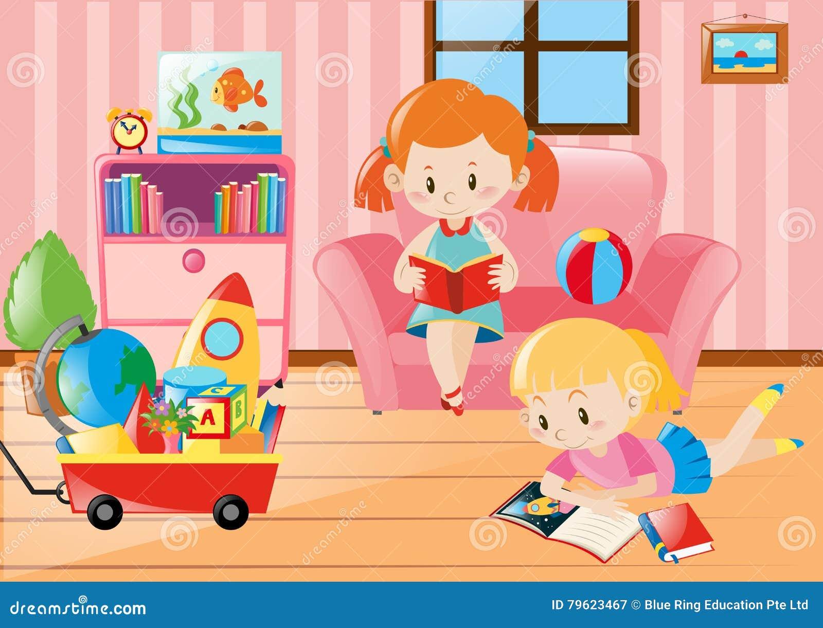 Livros de leitura das meninas na sala de visitas
