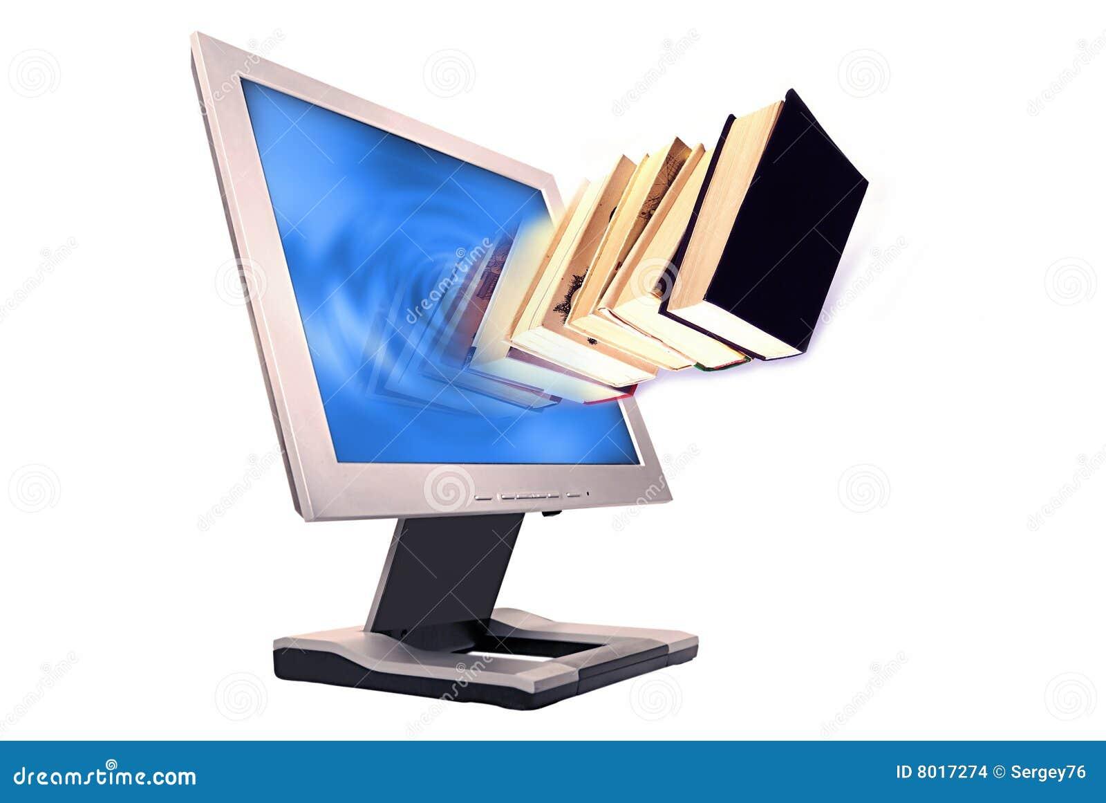 Livros e monitor