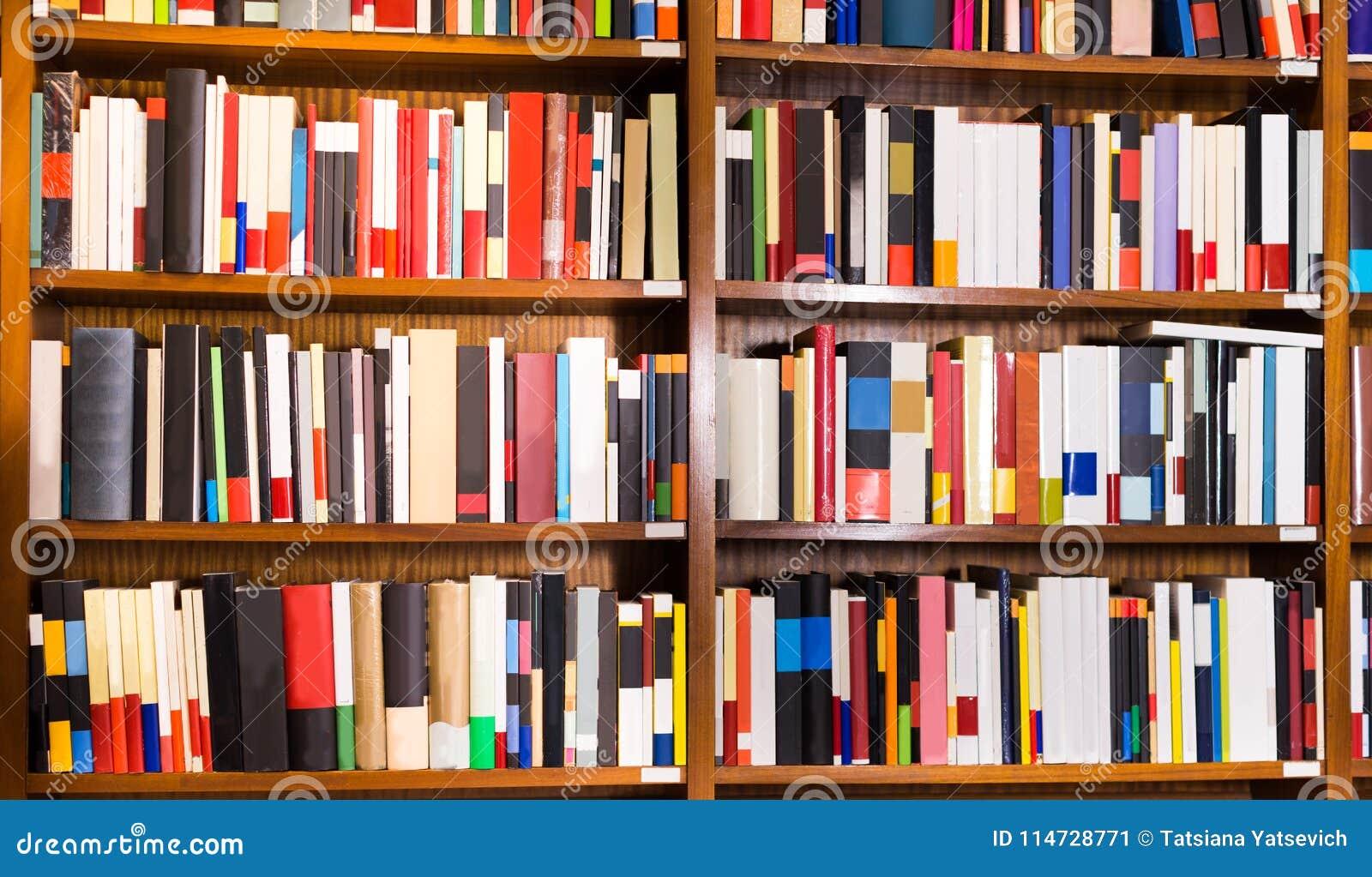 Livros Em Prateleiras Na Livraria Imagem de Stock - Imagem