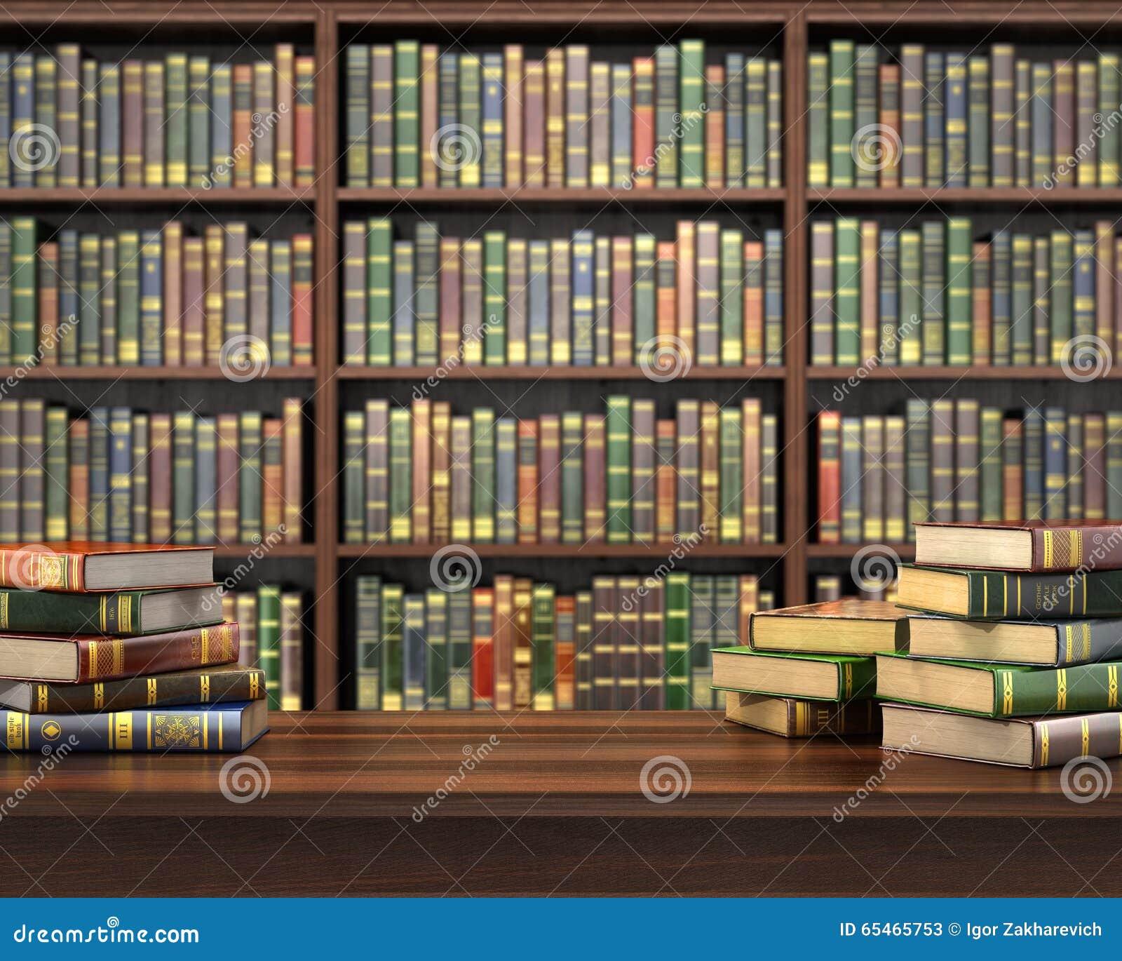 Livros na tabela no foco