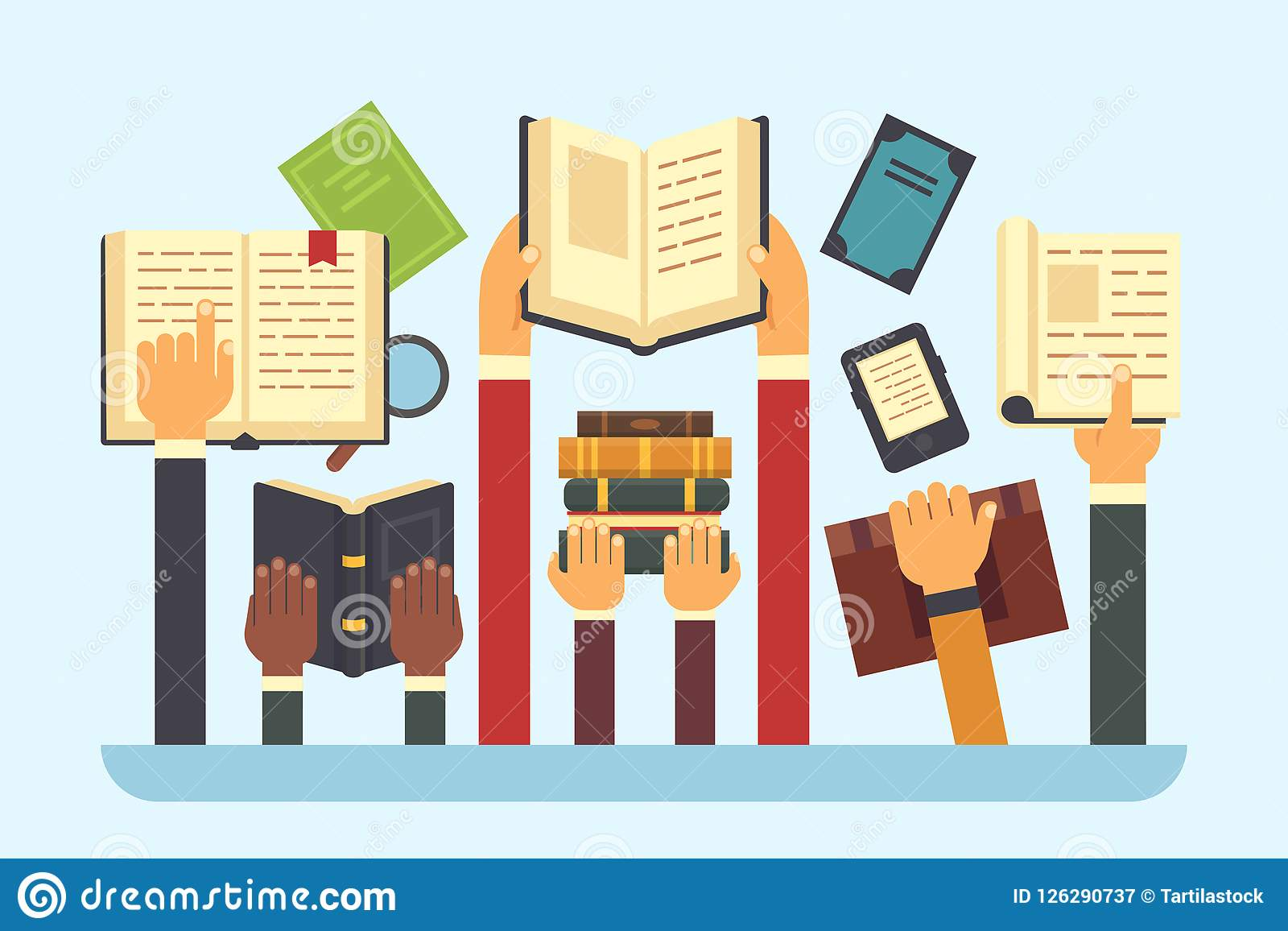Livros nas mãos Livro da biblioteca da leitura Entregue guardar o livro de texto, ilustração lisa do vetor leia-o e do educação