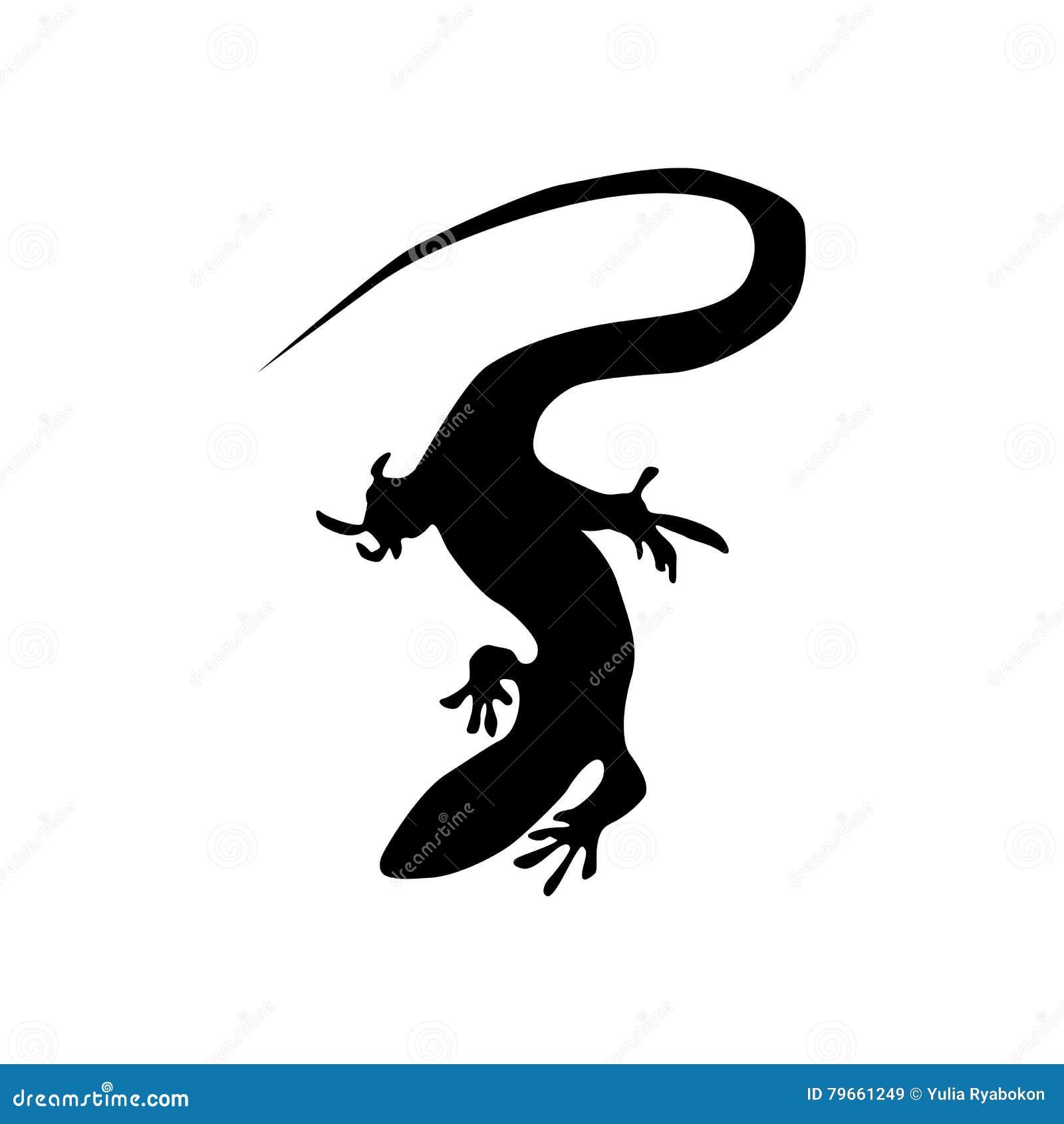 Chameleon Outline Tattoo: Lizard Black Silhouette Vector Illustration