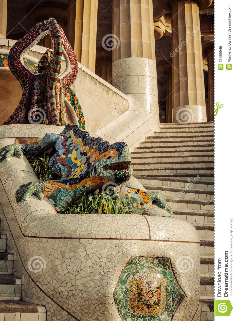Lizard in park guell in barcelona spain royalty free stock photo image 35469945 - Mobles vintage barcelona ...