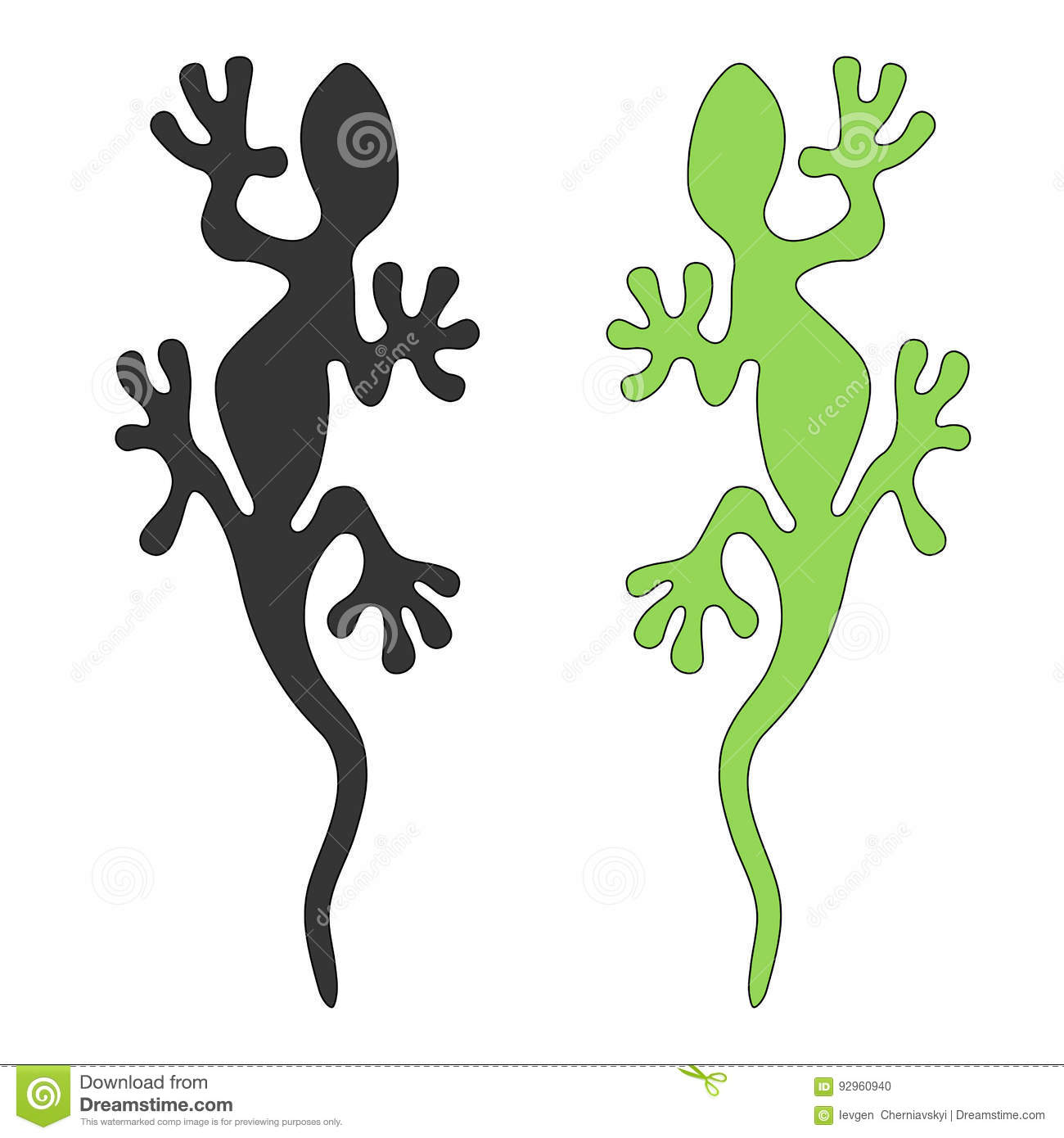 lizard silhouette cut out vector image stock vector image 92960940