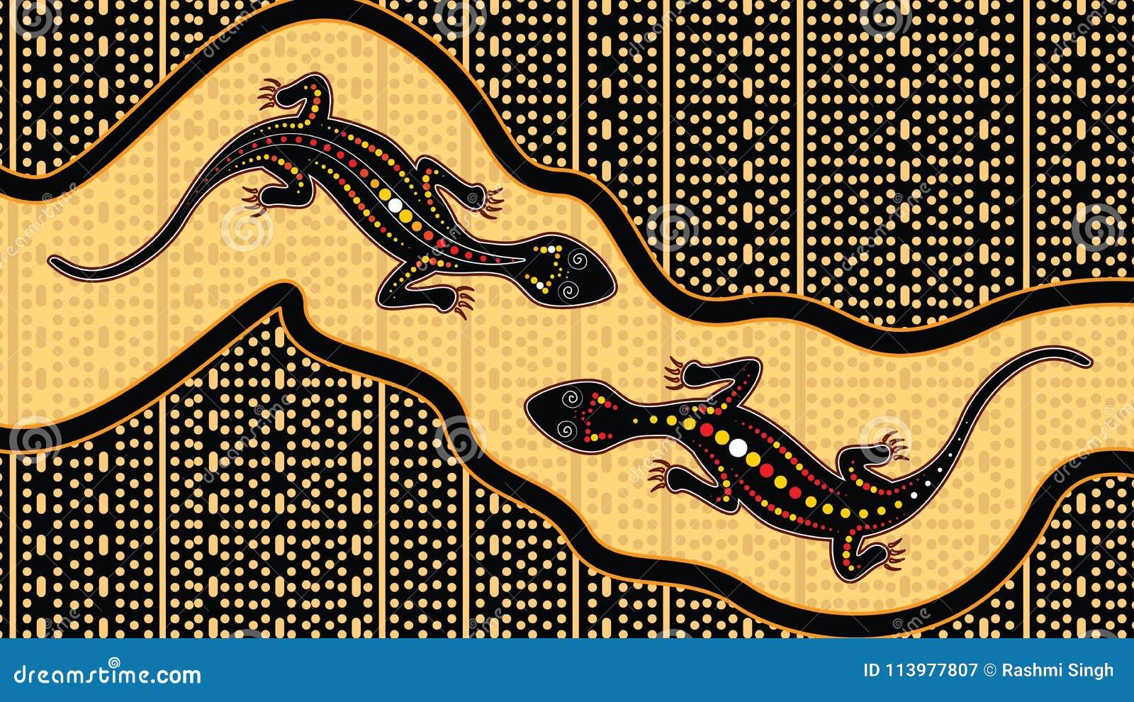 Lizard Vector Aboriginal Art Background With Lizard Landscape