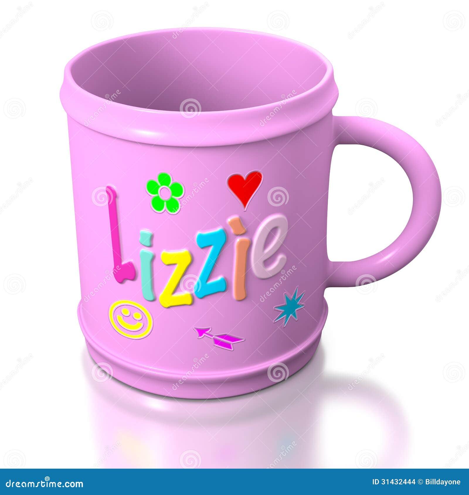 Lizzie Personalized Plastic Mug Stock Images Image 31432444