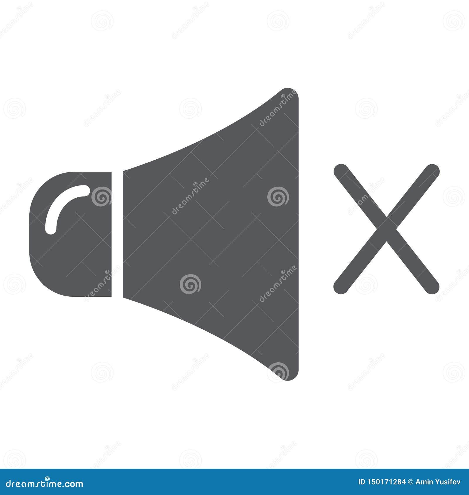 Ljudlös symbol, musik och högt för skåra, inget solitt tecken, vektordiagram, en fast modell på en vit bakgrund