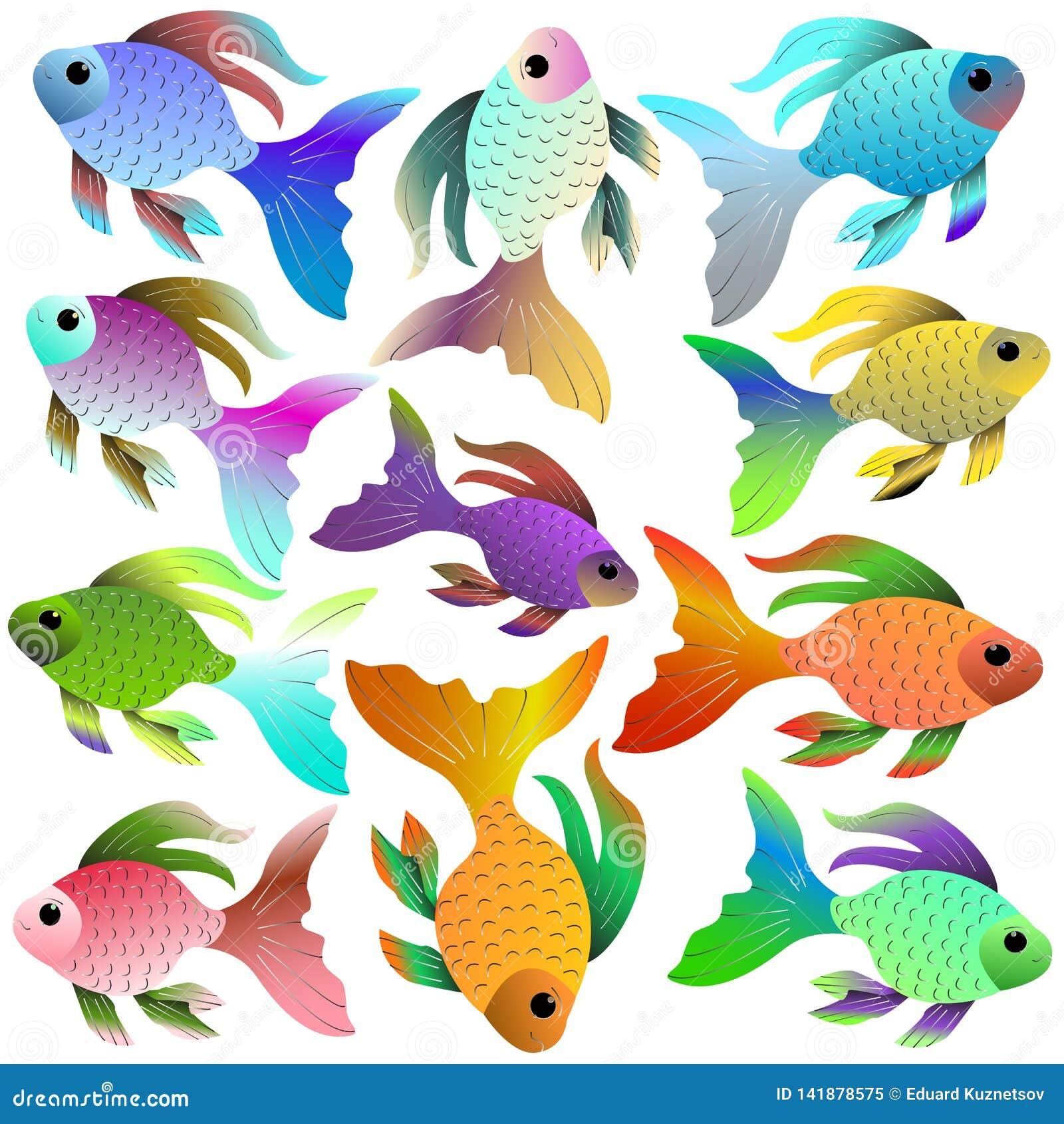 Ljus akvariefisk av olika färger och skuggor