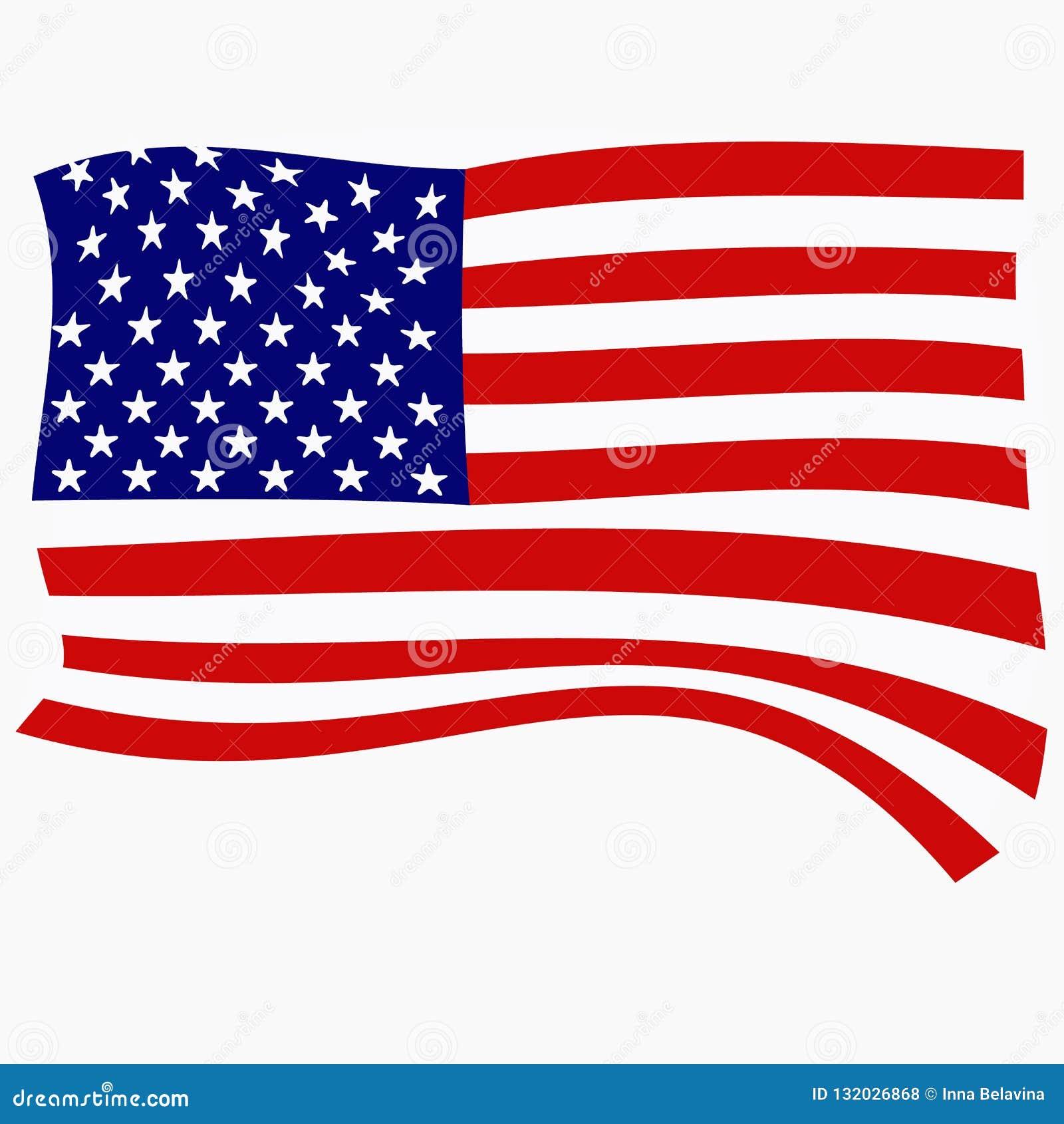 Ljus bakgrund med flaggan av USA Lycklig Amerika dagbakgrund illustration med vit bakgrund brigham