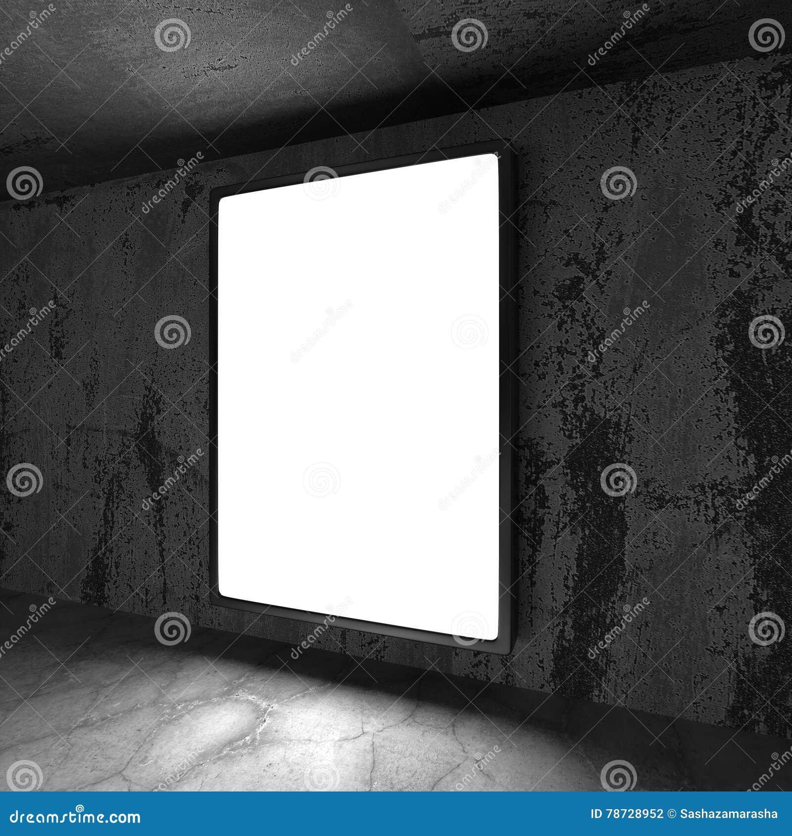 Ljus banerbilboard på den rostiga mörka väggen