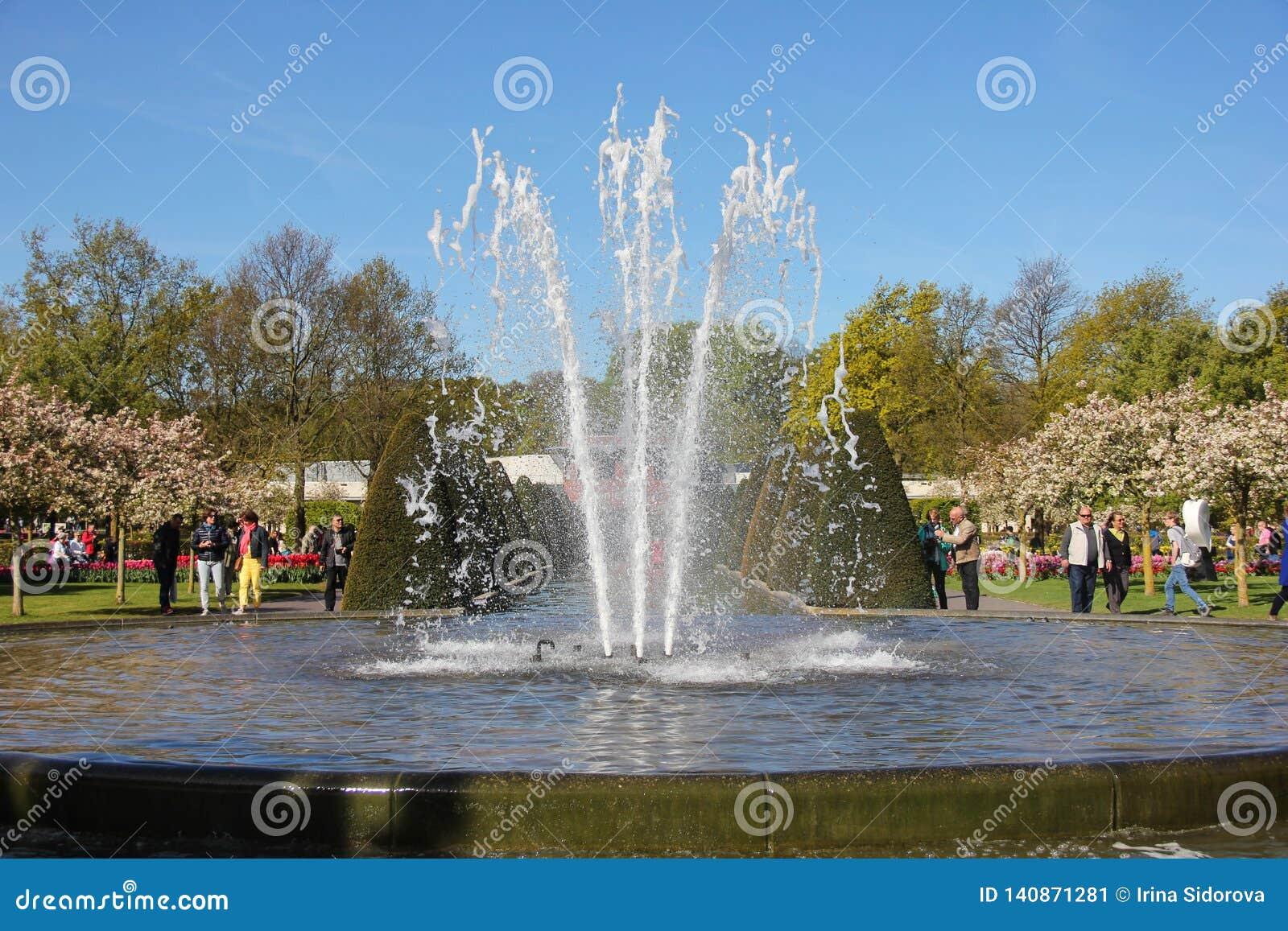 Ljus blå himmel över fontain för vattenpöl i vårtid i Keukenhof blommaträdgård Det lyckliga folket som in går, parkerar