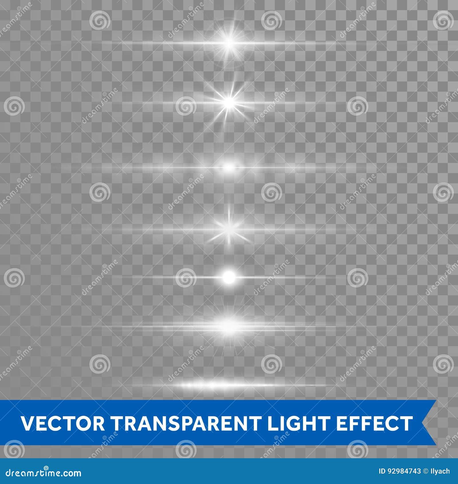Ljus effekt eller vektorn för signalljus för stjärnaskenlins isolerade genomskinlig bakgrund för symboler
