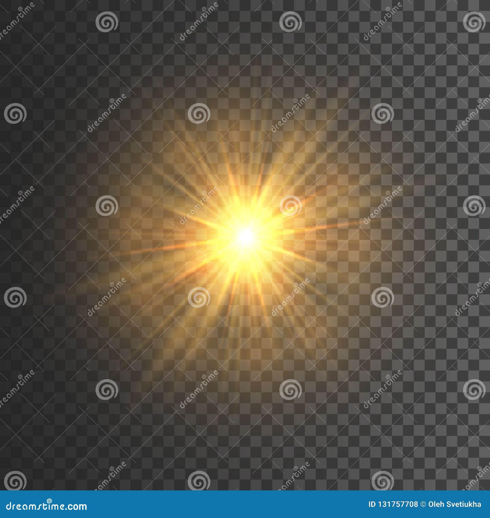 Ljus effekt för genomskinligt glöd Stjärnabristningen med mousserar blänka guld också vektor för coreldrawillustration