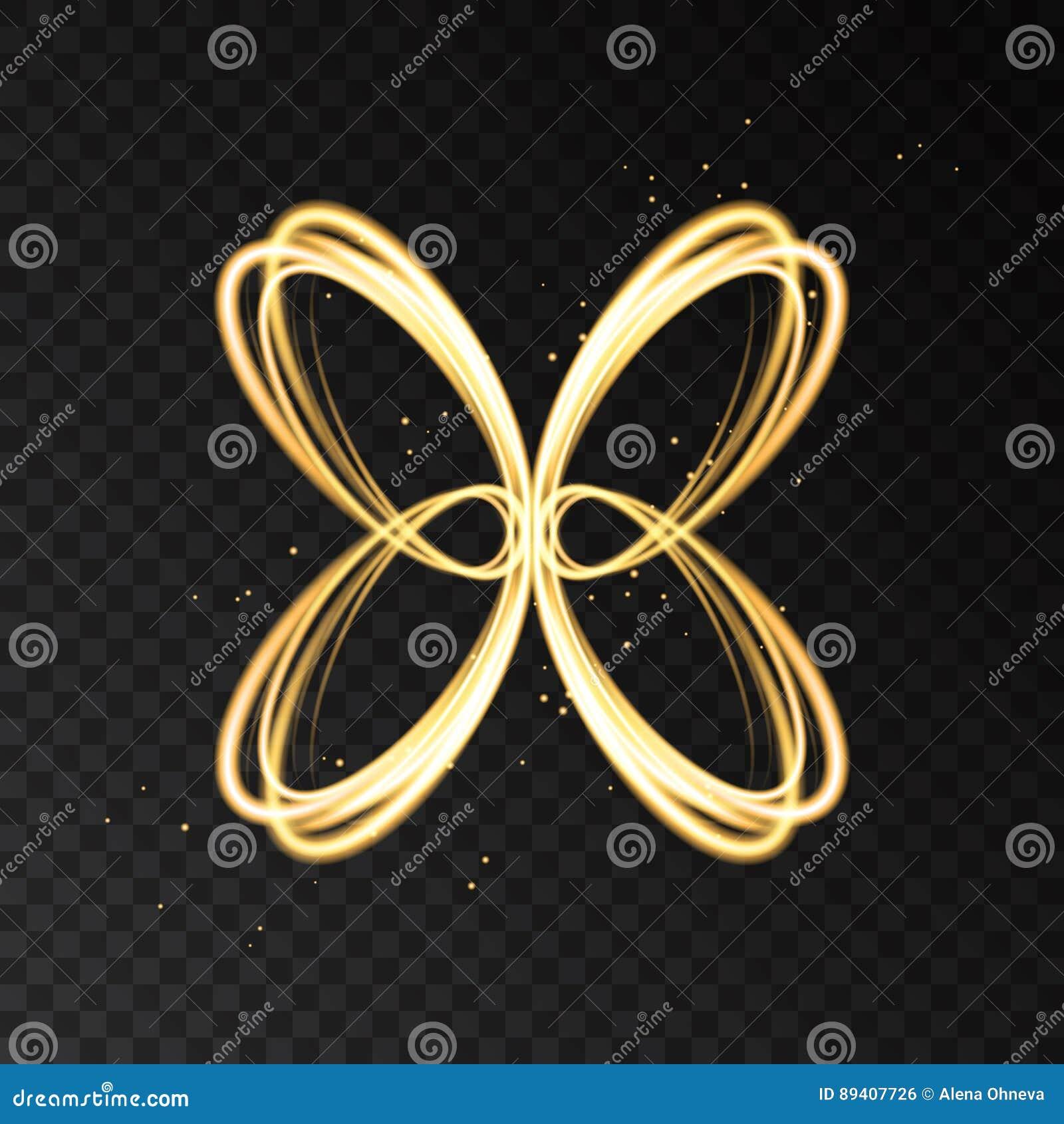Ljus effekt med den guld- konturn för neonabstrakt begreppfjäril