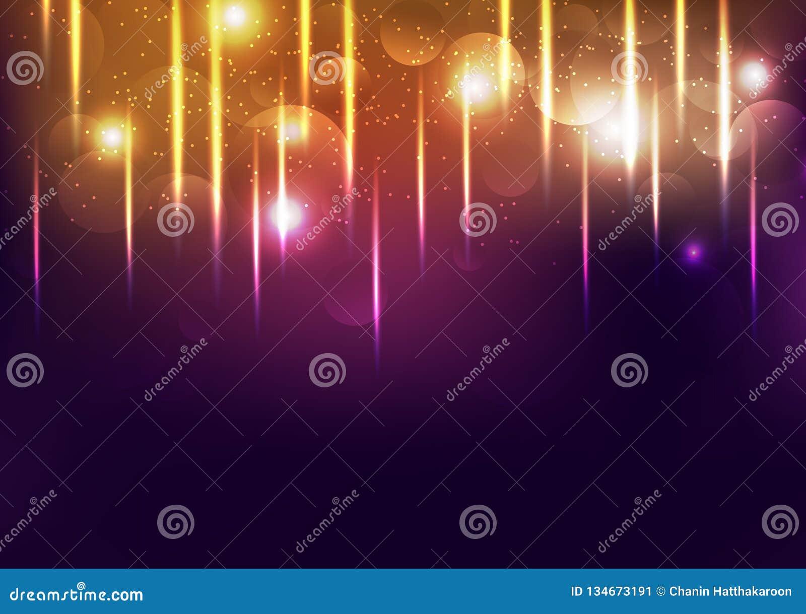 Ljus för beröm guld- skinande festival, glödande konfettinedgång för explosion, damm och kornig abstrakt bakgrundsvektorillustrat