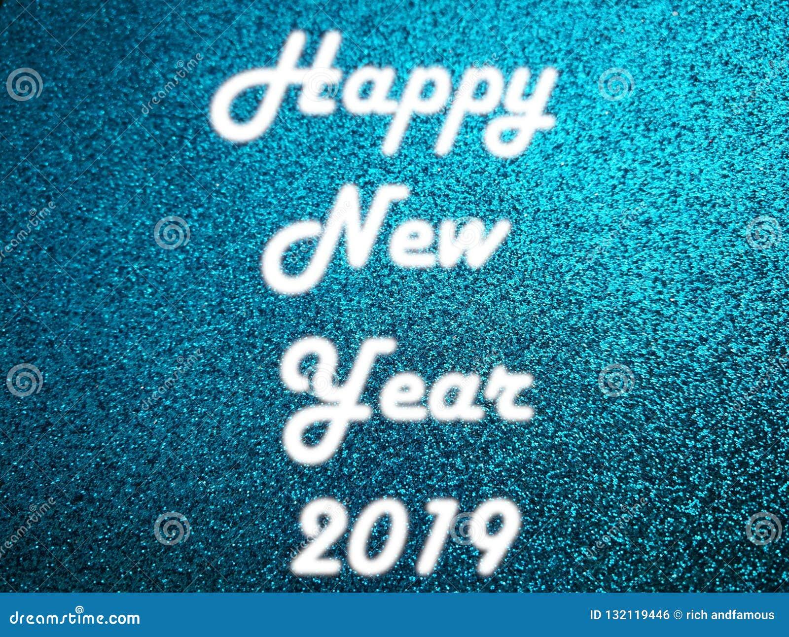 Ljus 2019 för neon för lyckligt nytt år vitt