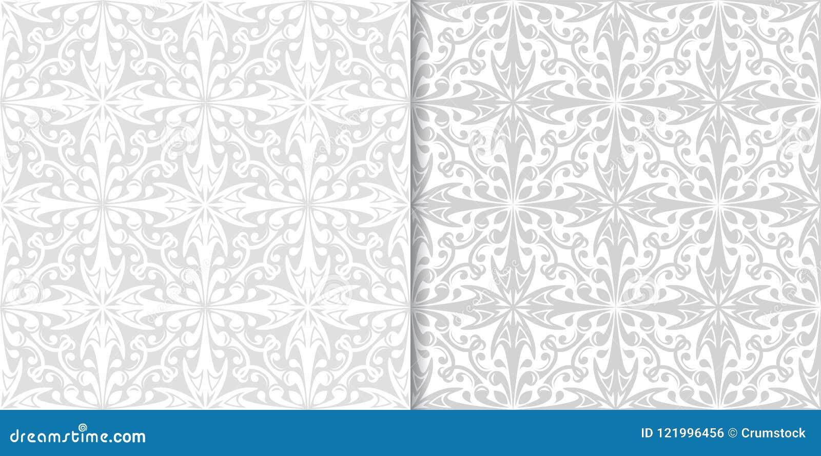 Ljus - gråa blom- prydnader mönsan den seamless seten