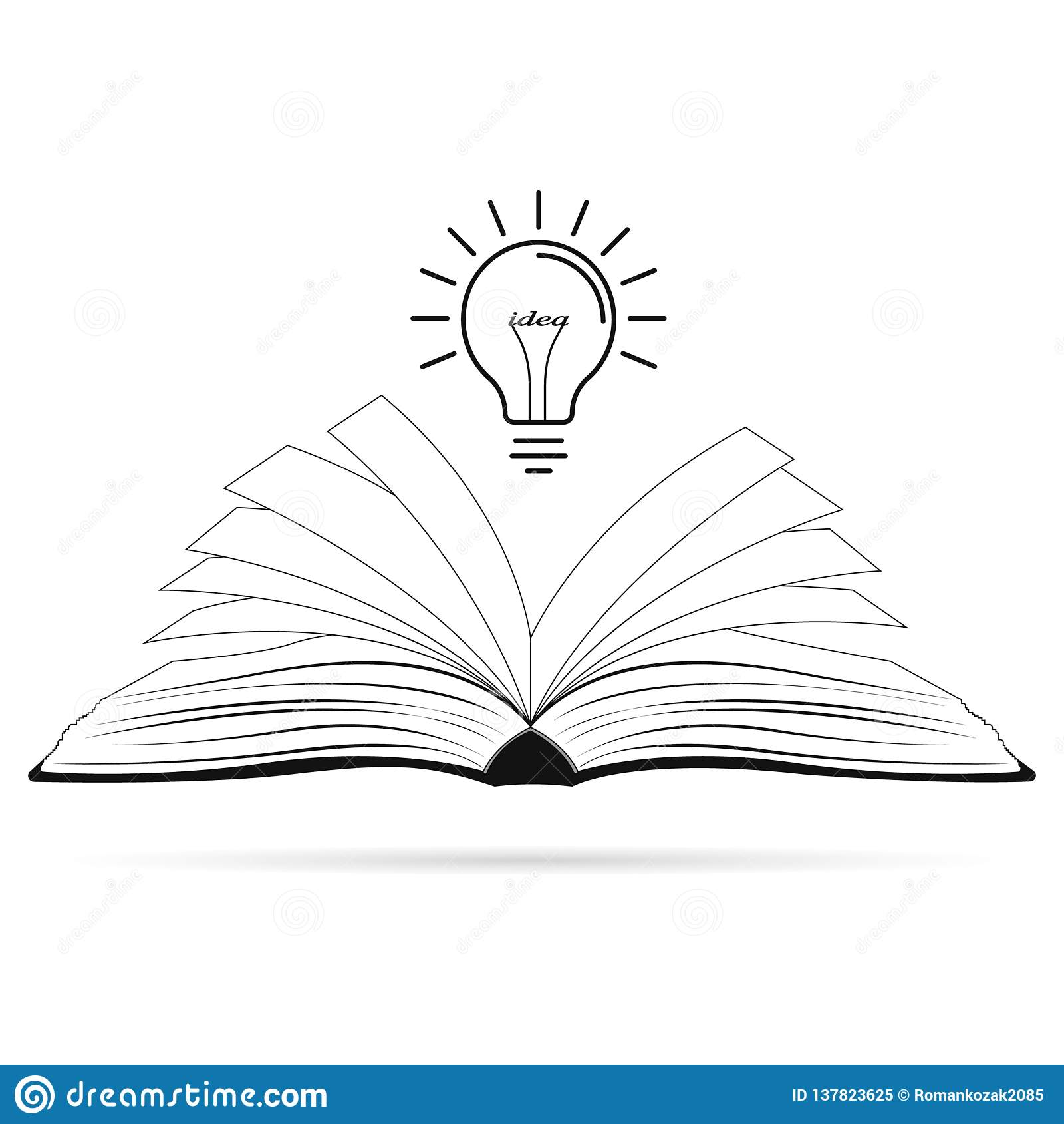 Ljus idérik idé Ljus kula över den öppnade svarta boken Begrepp av en idé