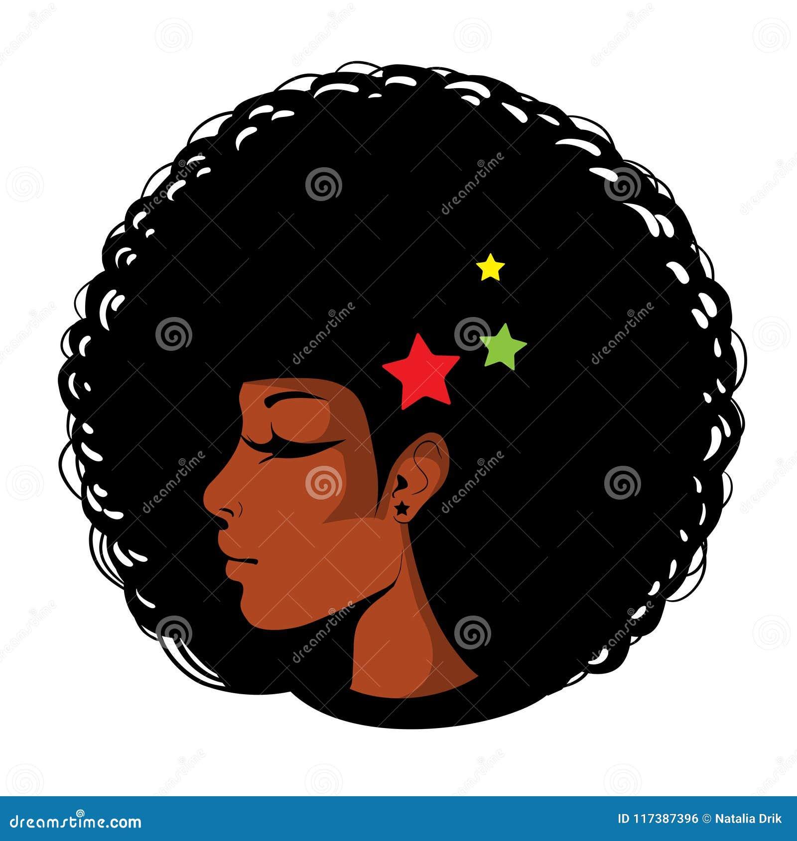 Ljus illustration för vektor i popkonst, afro amerikansk kvinnlig framsida Sexig kvinnaprofil med stängda ögon, afro frisyr in