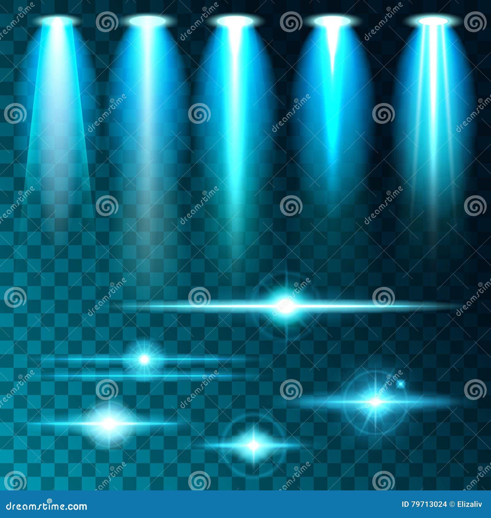 Ljus ilsken blick för fastställt realistiskt ljust sken av ljusa lampor, uppsättning av olika former och projektioner på en mörk