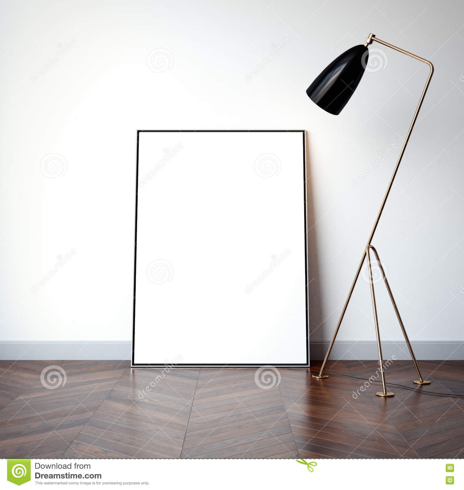 Ljus inre med tom vit kanfas framförande 3d