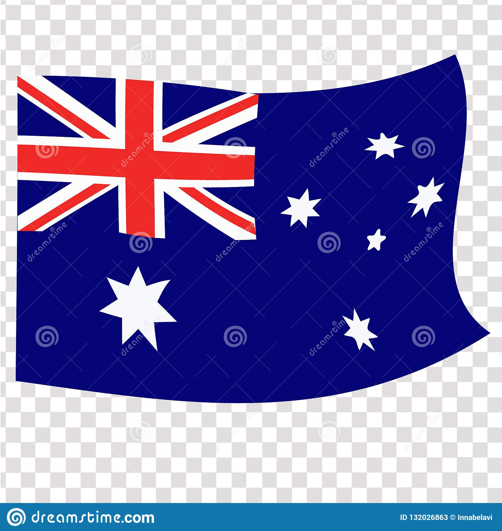Ljus knapp med flaggan av Australien Lycklig Australien dagbakgrund illustration med vit bakgrund brigham