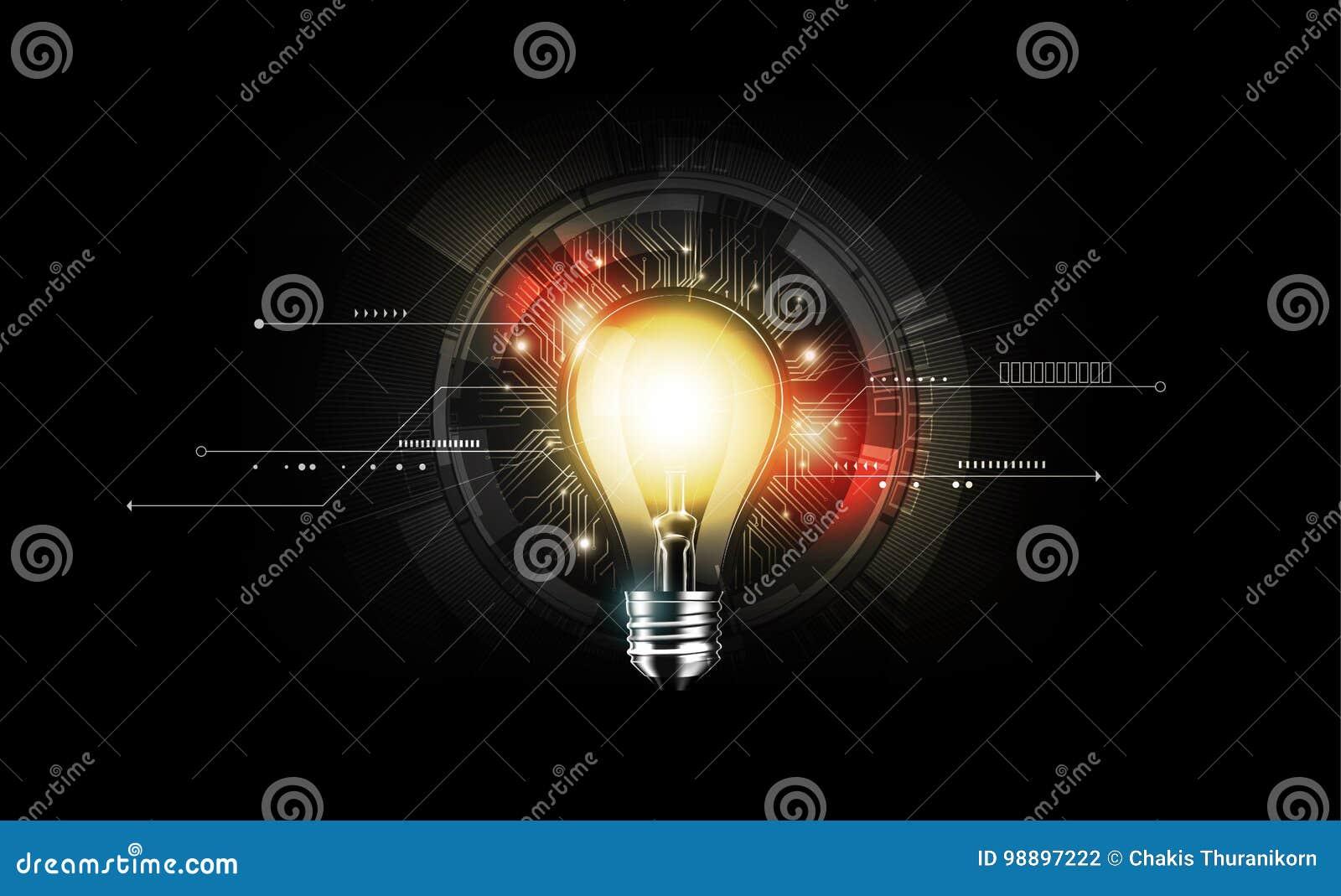 Ljus kula för glöd med teknologibegrepp och futuristisk elektronisk teknologi på mörk bakgrund, illustrationvektor