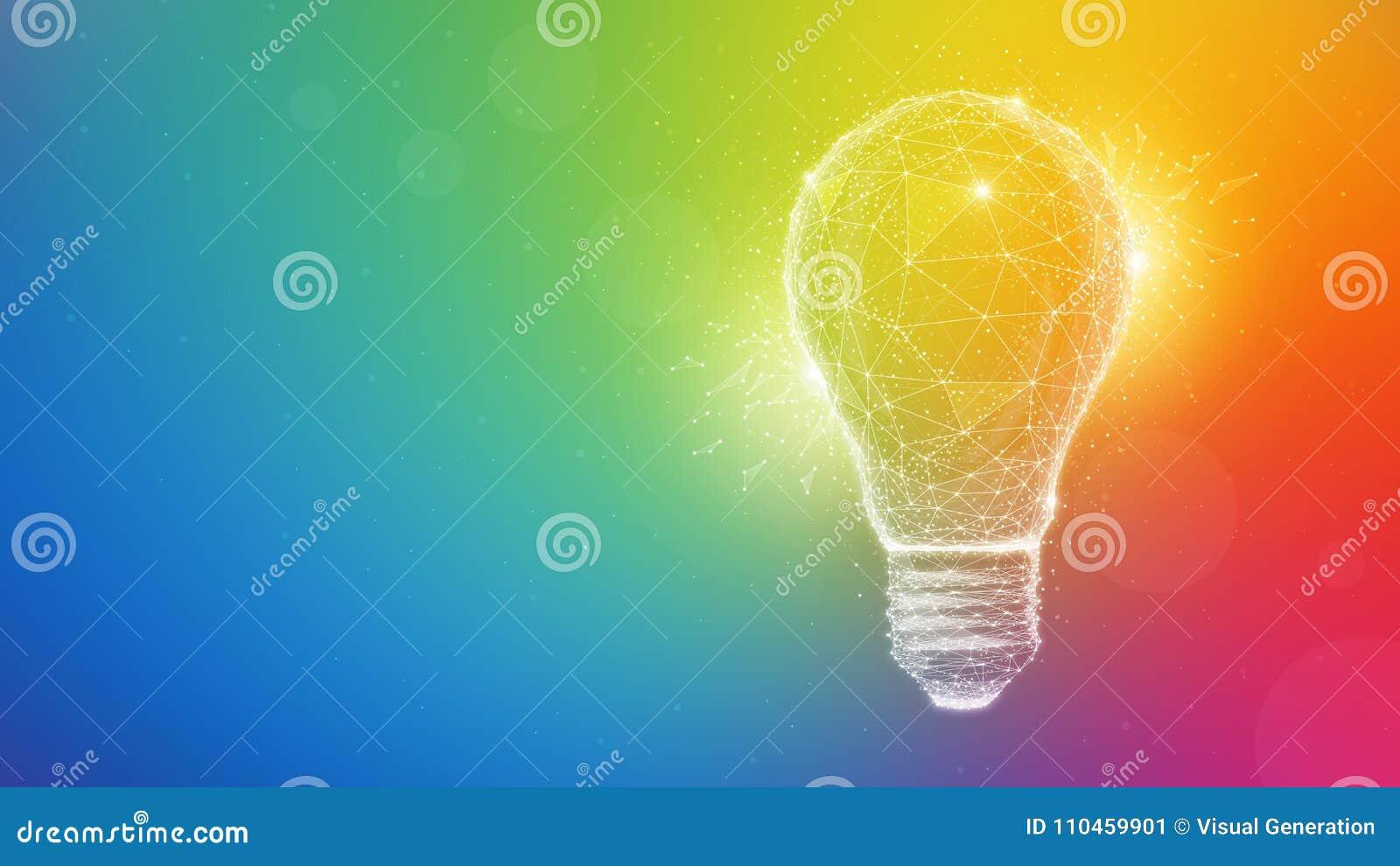 Ljus kula för polygonidé på mångfärgad bakgrund