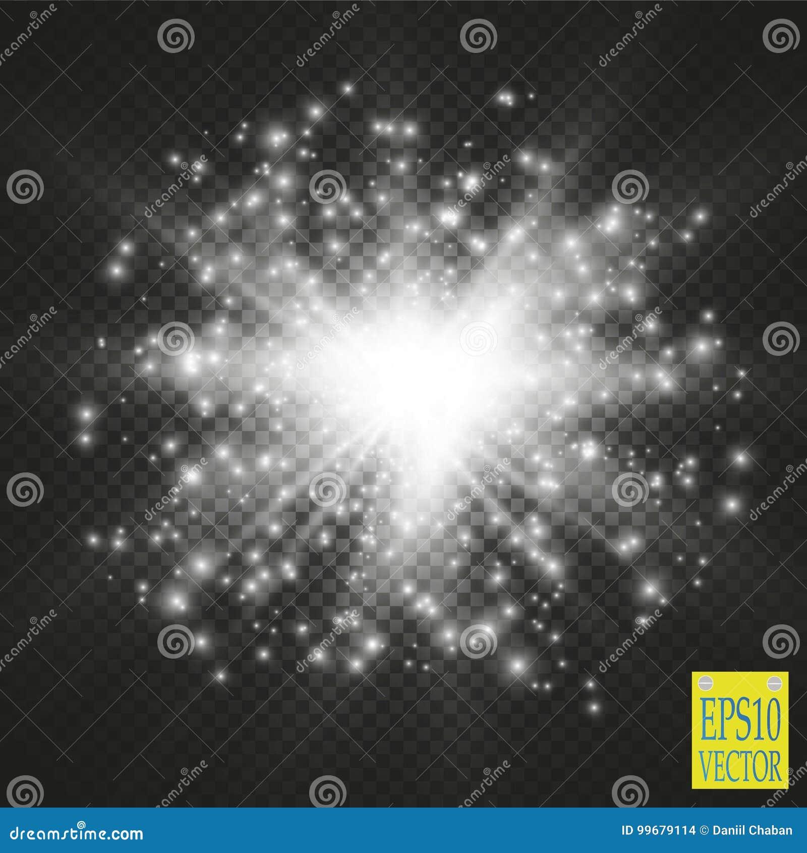 Ljus på genomskinlig bakgrund Vektorvit blänker vågabstrakt begreppillustrationen