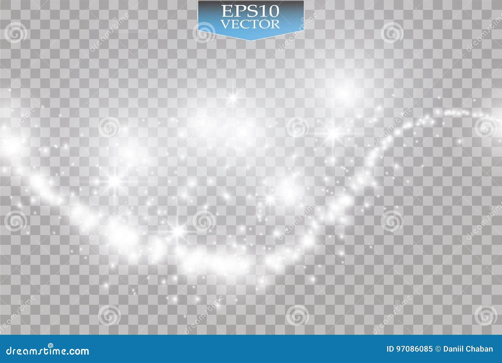 Ljus på genomskinlig bakgrund Vektorvit blänker vågabstrakt begreppillustrationen Vit brusande för slinga för stjärnadamm