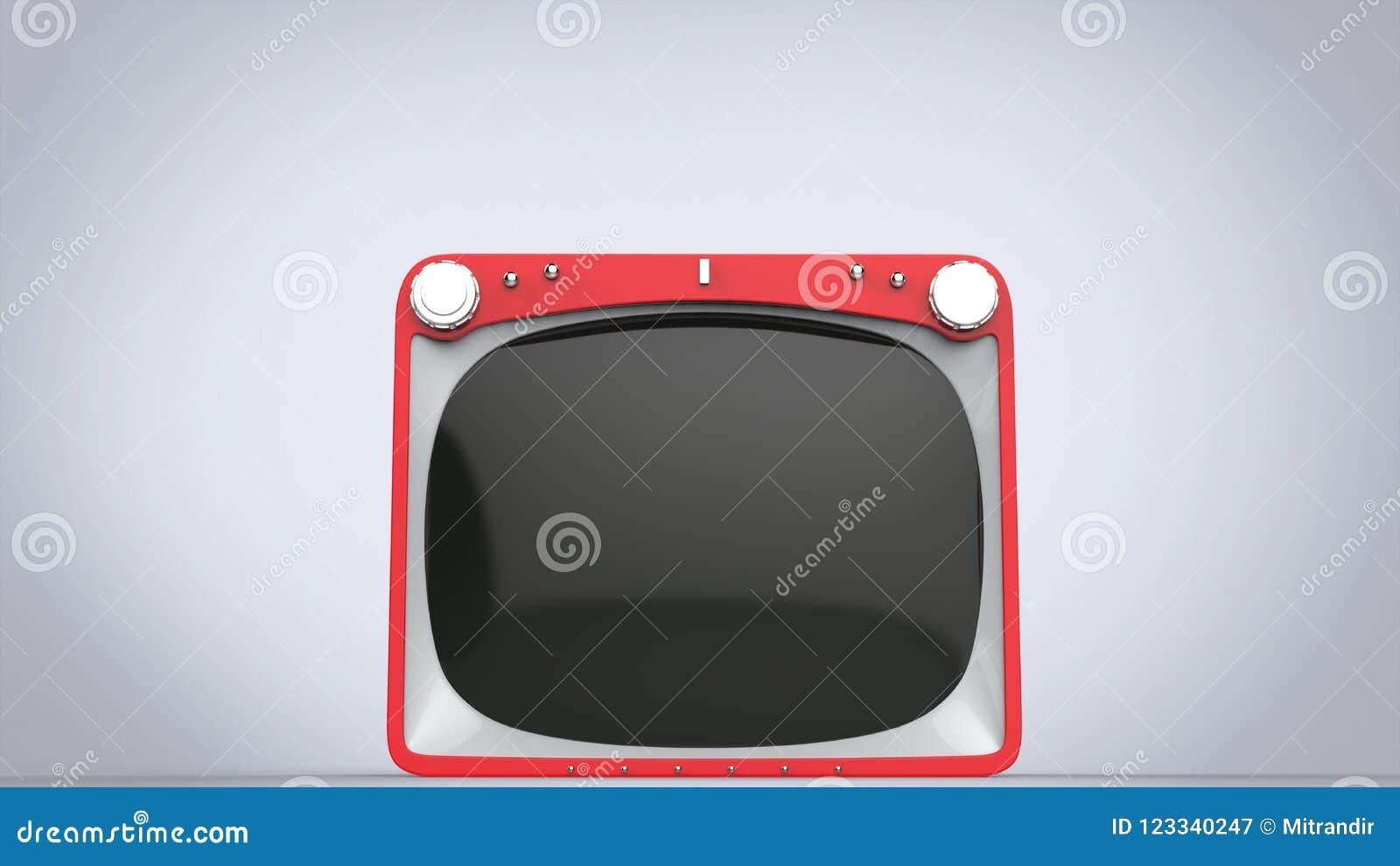 Ljus röd retro stilTVuppsättning - closeupskott
