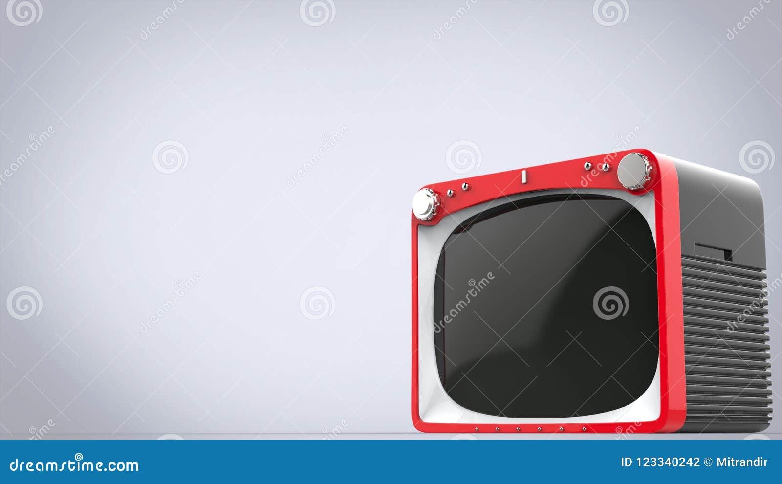 Ljus röd retro stilTVuppsättning med svart tillbaka