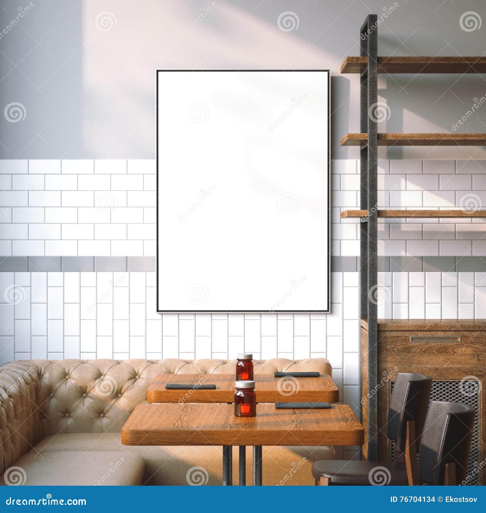 Ljus restauranginre med vit kanfas framförande 3d